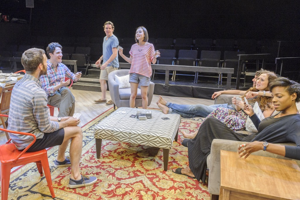 "Clockwise from left: Jimmy King, Ben Mehl, Craig Wesley Divino, Stacey Yen, Aaron Rossini, Claire Karpen and Rachel Christopher in ""At the Table."" (Photo by Jacob J. Goldberg)"