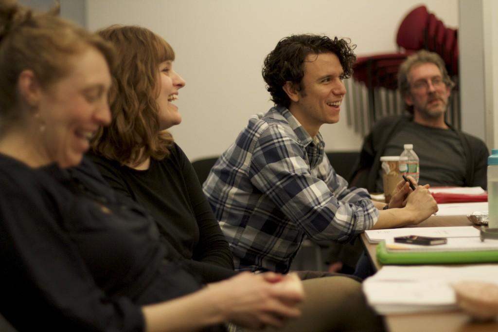 Crystal Finn, Brooke Redler, Aaron Rossini, and Grant R. Krause in rehearsal