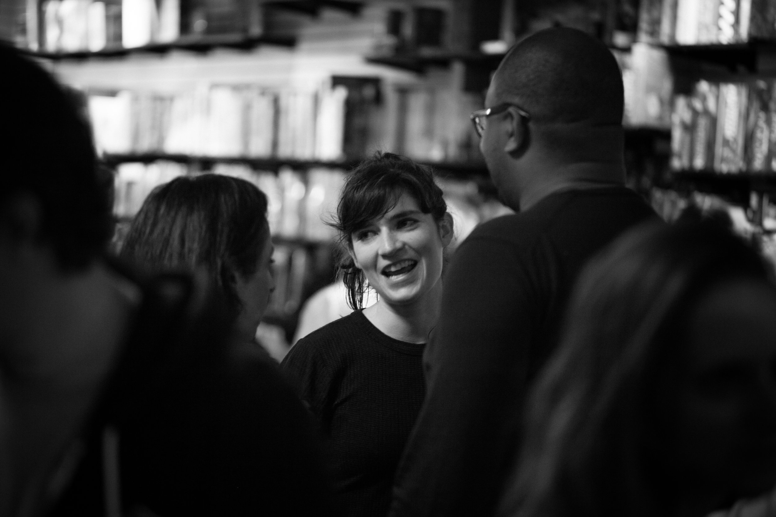 Playwright Liba Vaynberg with audience members after the reading. Photo by Katherine Oostman.