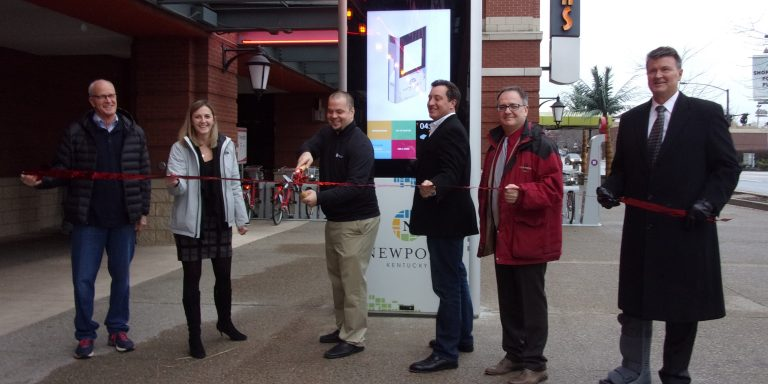 Leaders from The City of Newport and smartLINK celebrate the first node. Photo courtesy of NKY Tribune