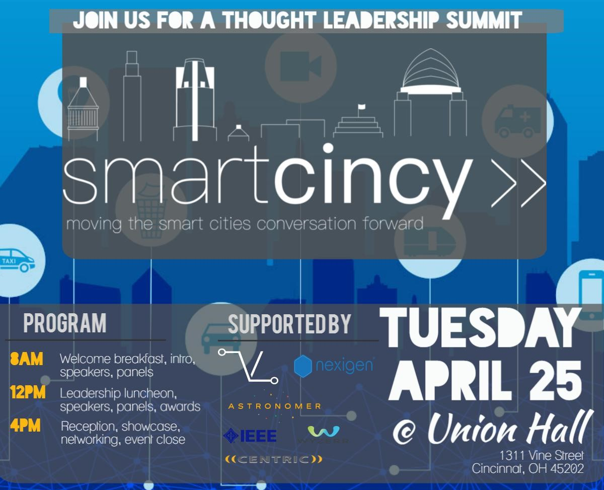 Join elected officials, academic and business leaders, and community members committed to smart city solutions at the Smart Cincy Summit on April 25th. The Summit will be held the week after final questions are due for the RFQ and the week before final responses are due.