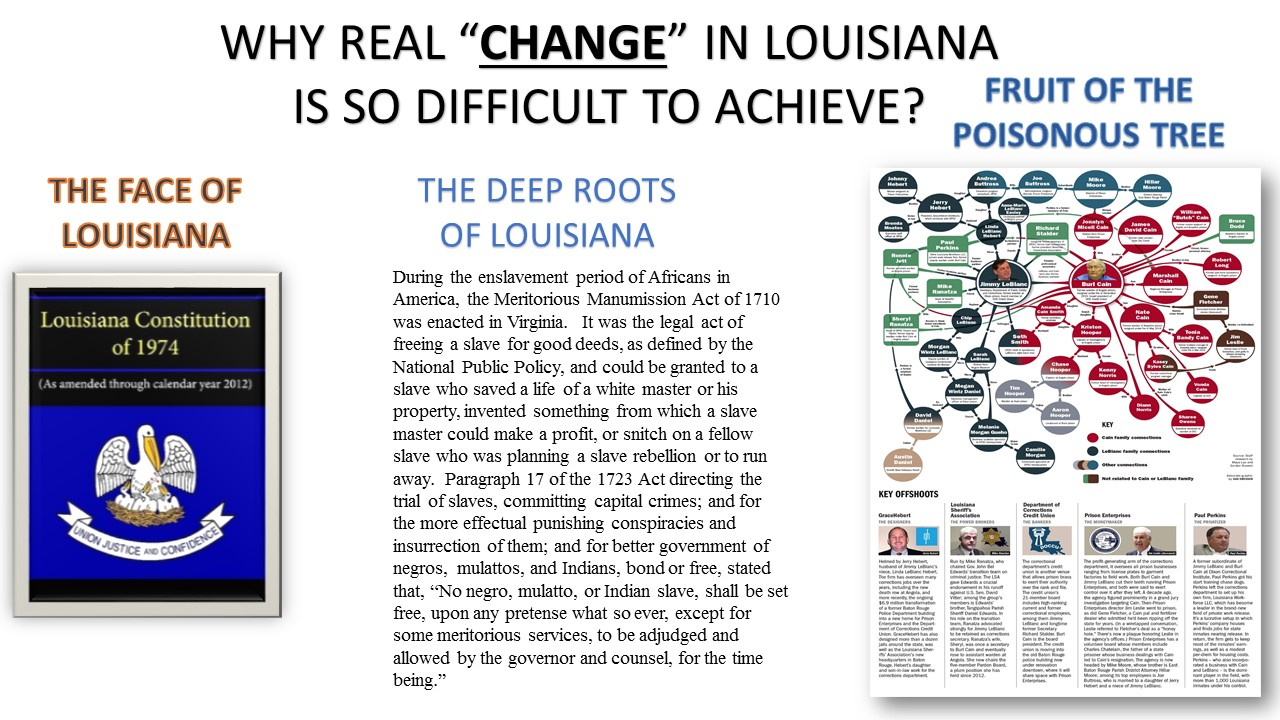 "The old adage, "" Old Habits Die Hard"", proves to be an enduring reality for every aspect of the governing body of Louisiana. Rather it concerns being the number one incarcerator in the world, worse in Education, Healthcare, Infrastructure, and Quality of life, Louisiana leaders remain clueless of the most important part of the Preamble, which states in pertinent part: We the people in order to form a more perfect union, established justice, insure domestic tranquility, provide for the common defense, promote the general welfare, and secure the blessings of liberty to ourselves and posterity, do ordain and establish this constitution for the United States Of America! The passage of Senate Concurrent Resolution 2 in 2009, which granted state sovereignty to the state of Louisiana, was thought to enhance this more ""Perfect Union "", but in truth provided a more modern makeover to mask the hidden identities of the individuals and their nefarious offspring who are all direct descendants and inheritors of the fruit of the poisonous tree! True reform in Louisiana can't begin at ground level in any respect. The ousting of Governor Edwin Edwards, Congressmen William Jefferson, Warden Burl Cain, District Attorney Walter Reid, Mayor Ray Nagin, Mayor Maurice Brown, Mayor Eddie Price III, City Councilman Robert Stevens, City Councilman Oliver Thomas, Parish President Lester Millet, District Judge Ronald Bodenheimer, and Col. Mike Edmonson is merely the act of trimming a few of the limbs off of the poisonous tree without causing ""Any Harm"" to the tree itself! If we, the most impacted citizens of Louisiana, are to experience real reform, we must direct our focus and energy towards the tree, not the limbs! The lifeblood and legacy of the status quo rests, rules, and abides in the ""ROOT"" of the poisonous tree. It's time for, We, The People, to dig it up! For even during our most difficult period in American History, there was a mechanism of release for those in captivity, albeit under some of the most vial and inhumane practices of legal order. One would imagine after more than 300 years we the people would have formed more perfect unions and laws! However, instead of moving forward as a people and a state, Louisiana has remained the outlier in crime, corruption, and punishment of its most vulnerable citizens! We call reform ending the death penalty, while District Attorney's like Pete Adams use political ties, victims, misleading statistics, and mass media airing of violent crimes to fight tooth and nail to maintain Mandatory Life Sentences! The perception of being smart on crime while protecting and maintaining the status quo seems to be how this legislative cycle is going to start and end!"