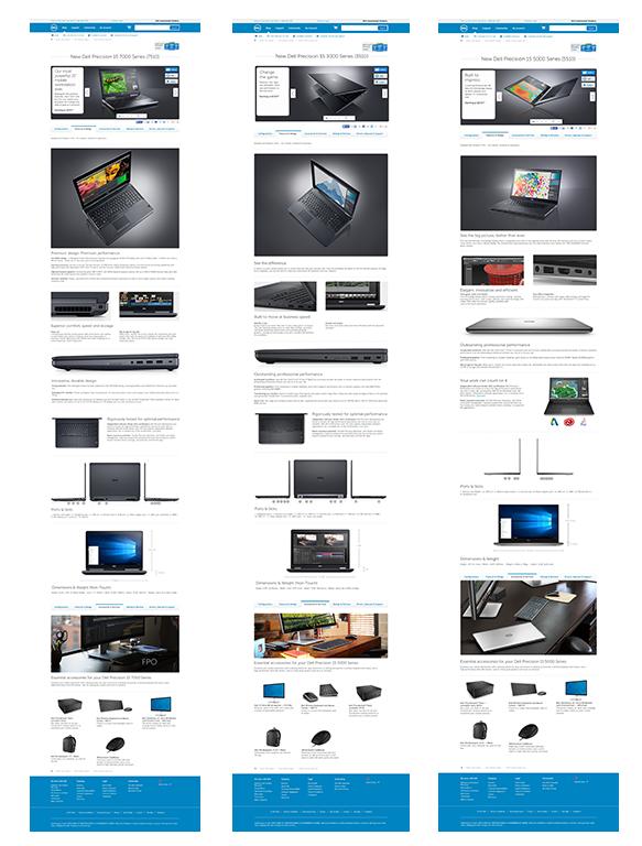 Product detail pages. Program: Photoshop