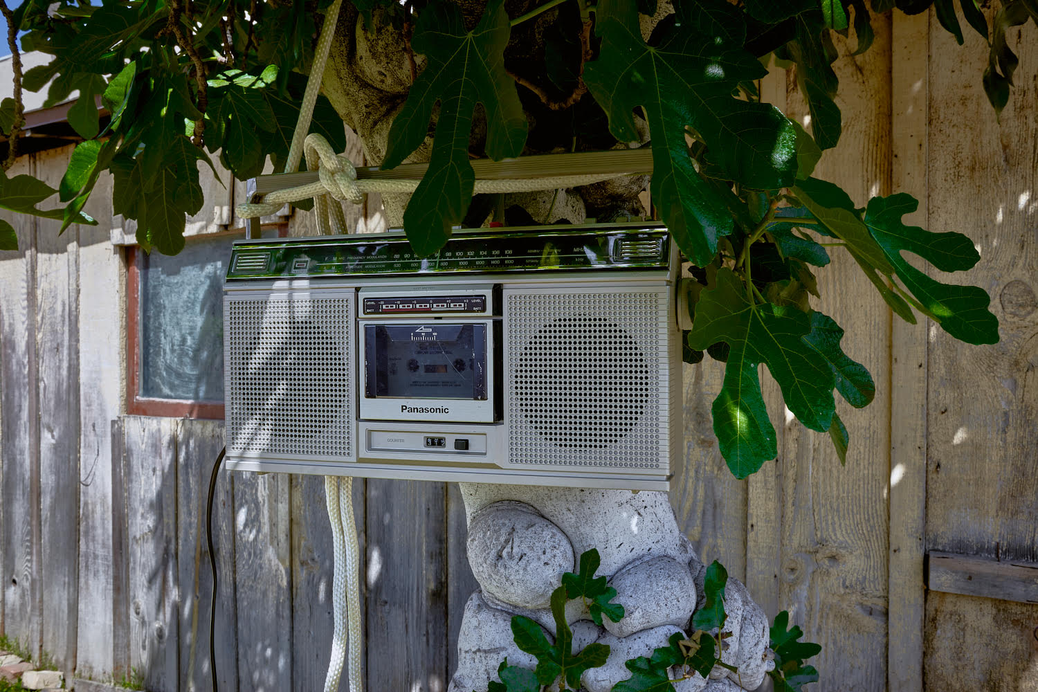 Name Of Piece: Stilll life with songs  Size of piece: Variable  Medium: Cassette player and cassette tape  Photographed by:  Veli -Matti Hoikka  Location, Year: Reserve Ames, Los Angeles, CA, 2017