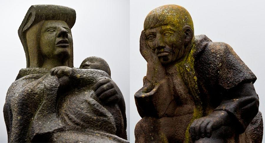 Estatuas de indígenas en la entrada a San Cristóbal de las Casas.