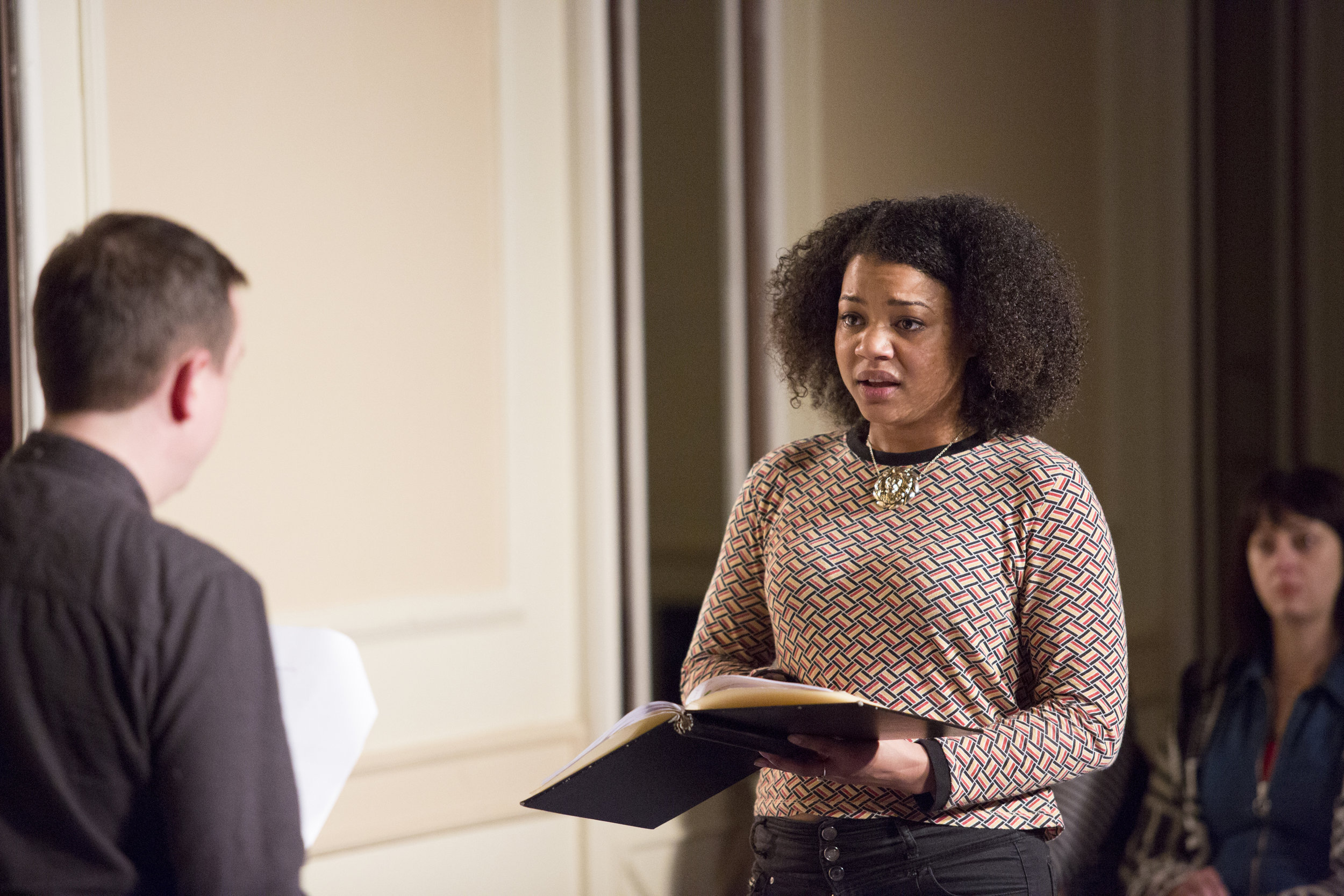 Jessica Hayles in a staged reading at Dirty Gifted & Welsh. Photo Credit: Dan Green.