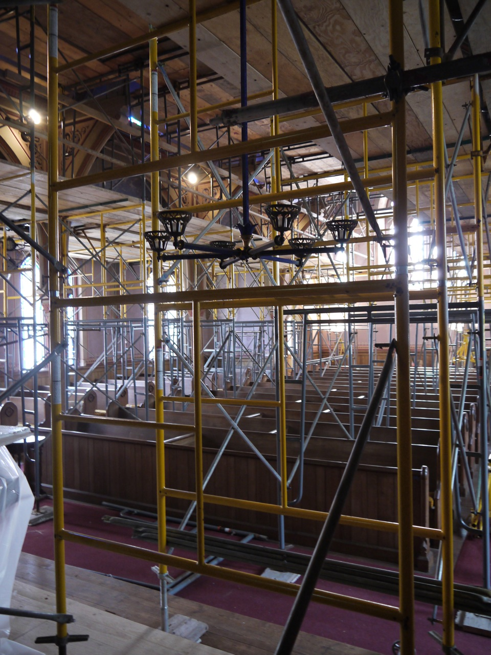 Scaffolding fills The Audience Room during the restoration of the frescoes.