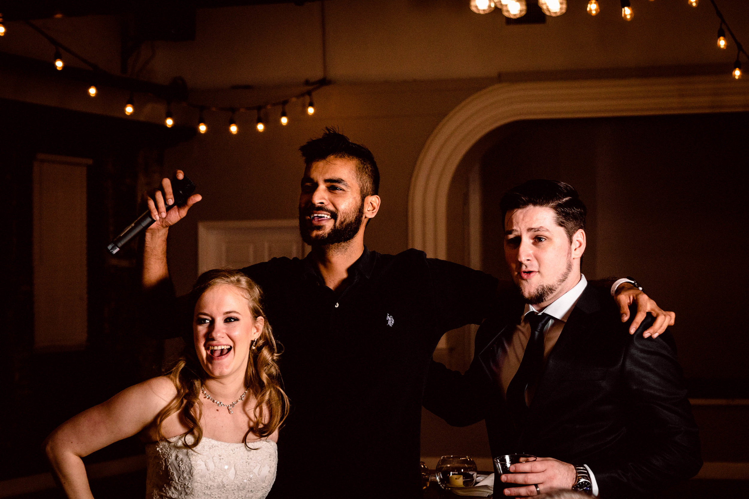 Taking a break to sing with Catherine & Eric on their wedding day.