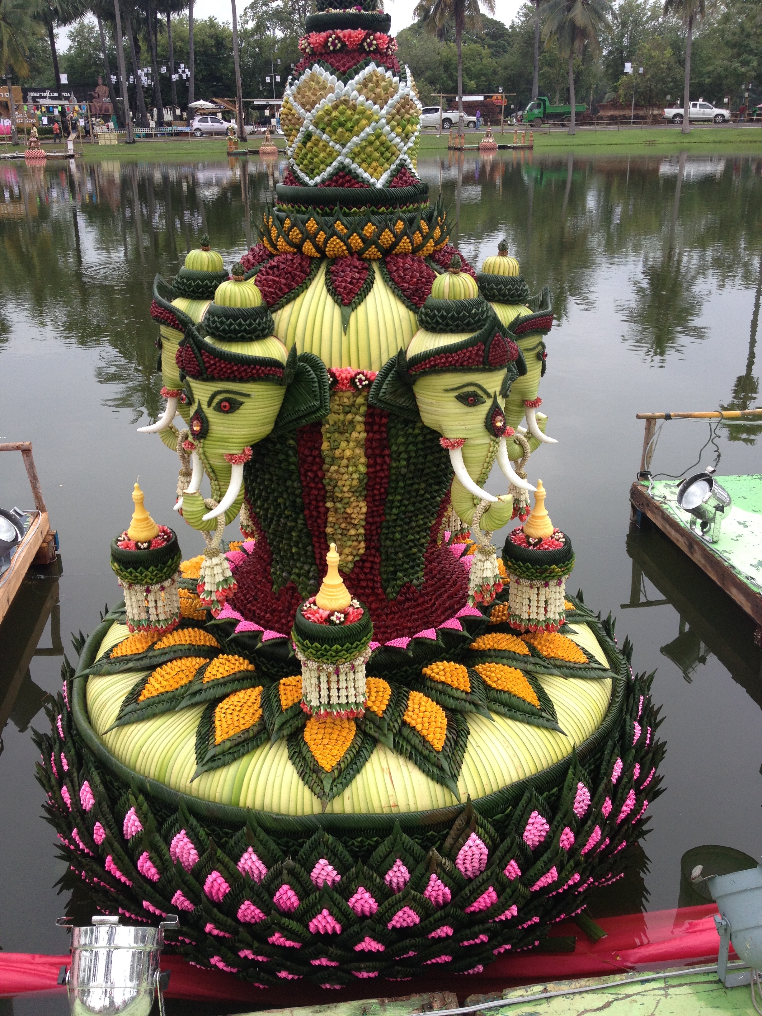 One of the krathongs. These are banana leaf floats that are set off into the water with lit candles and incense. You make your wishes, ask for forgiveness, and send it and all the bad karma off down the river.