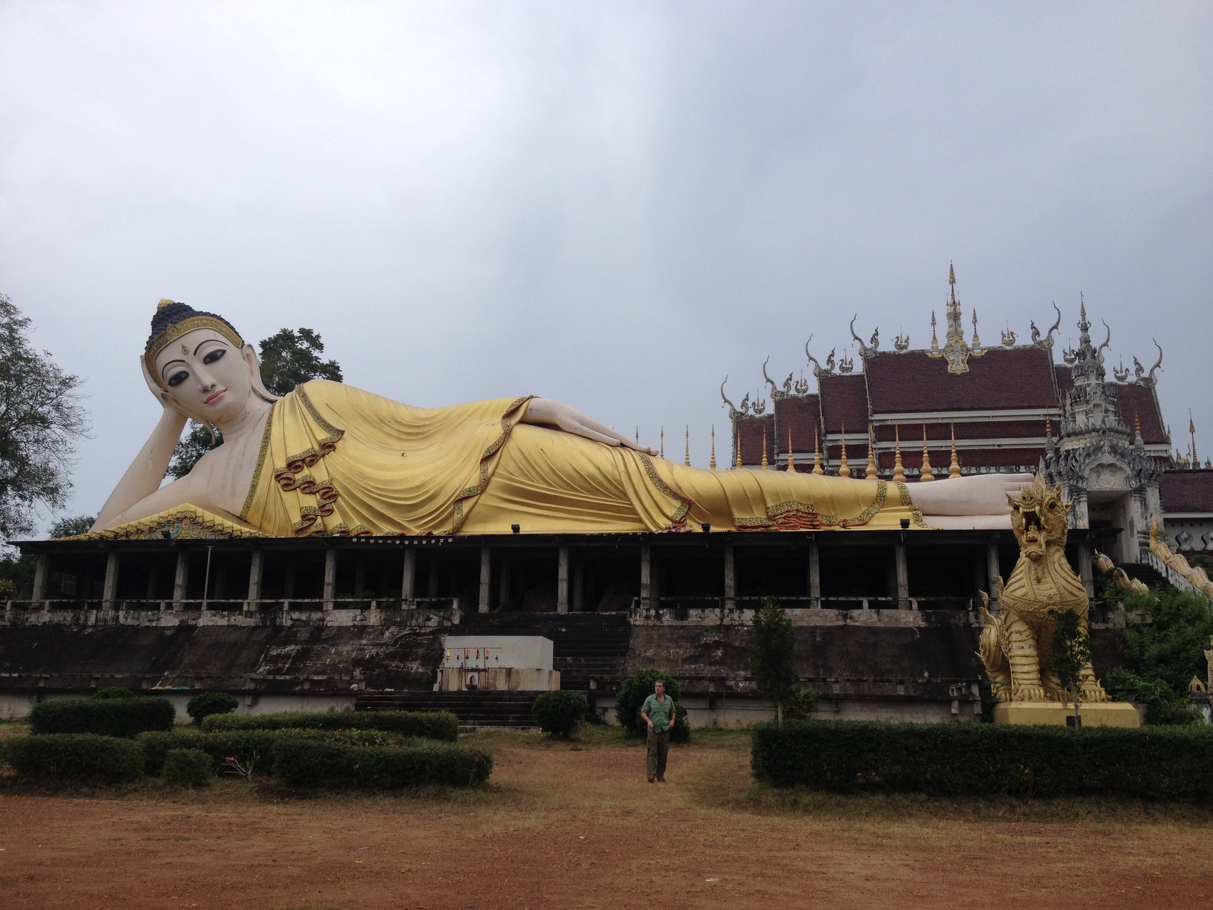 This particular Buddha was at a temple which was pretty much out in the middle of nowhere. It was not possible to fit it all into this photo. See Bill in foreground for a size perspective!