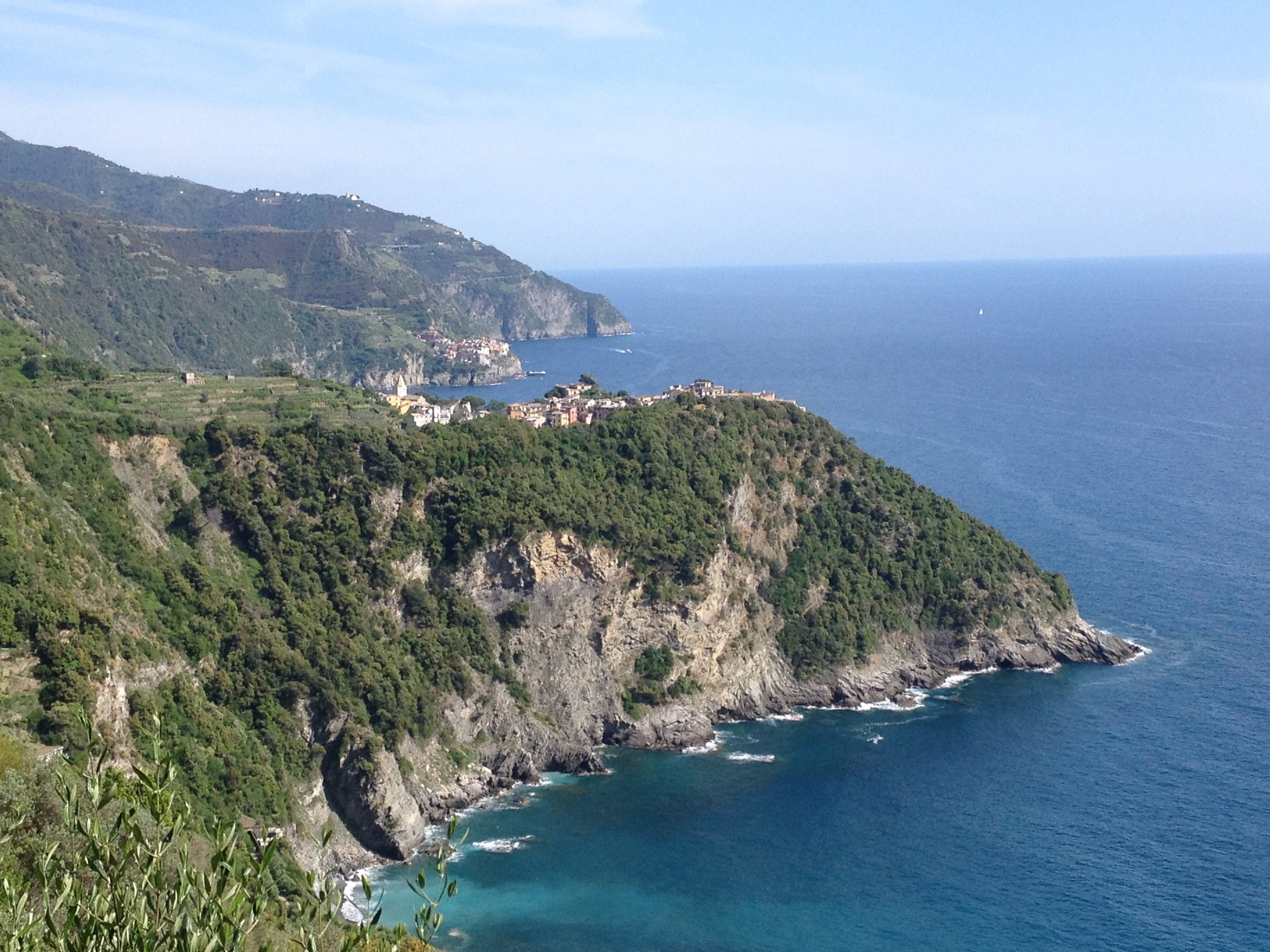 """A hot and sunny day on the trail...In the background, the village of Corniglia (pronounced """"Cornelia"""") with about 40 more minutes of hiking to go."""
