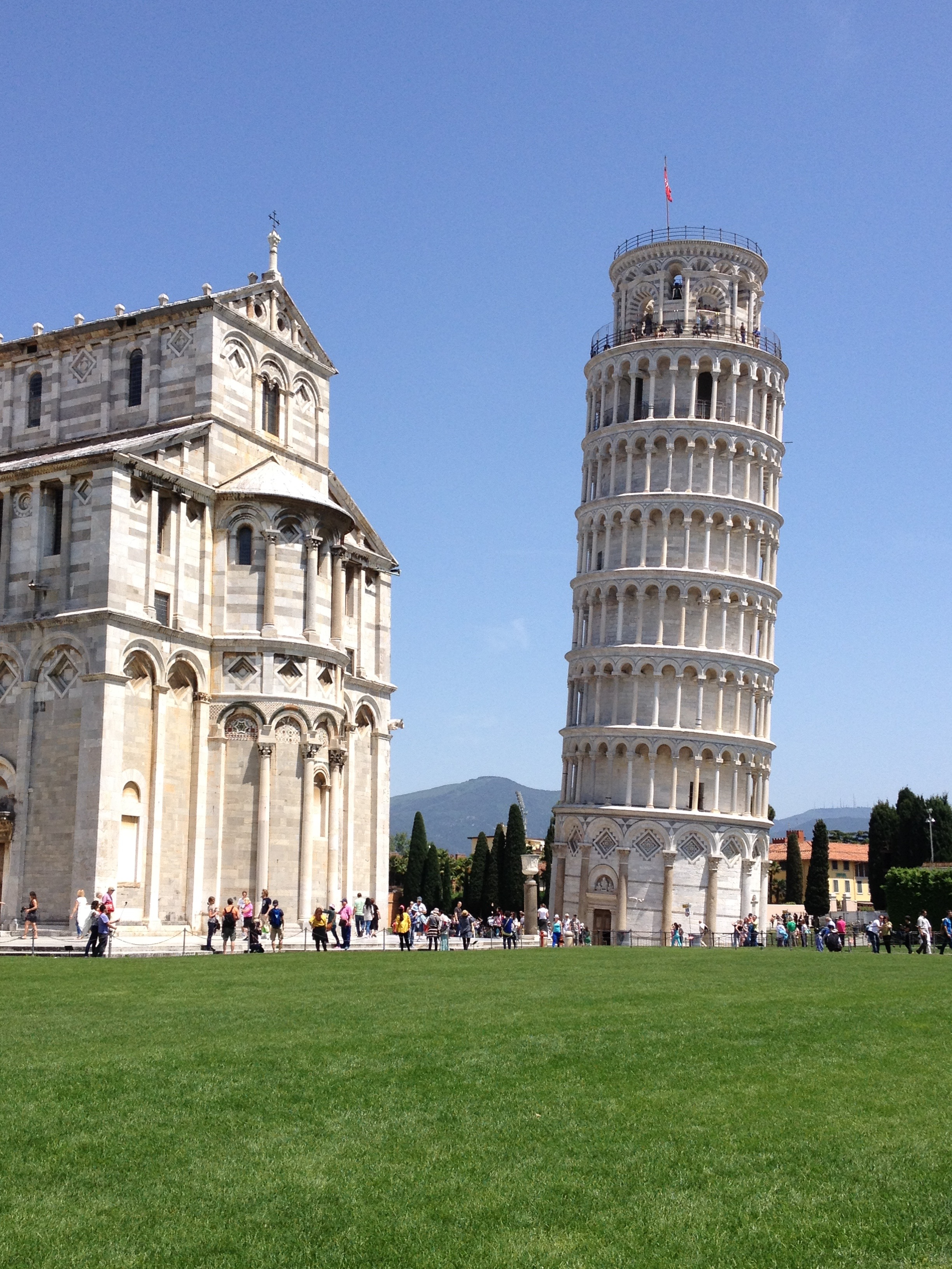 Pisa (duh). Actually my favorite picture is of a row of about a dozen tourists all lined up pretending to be holding up the leaning tower and one actually clever guy standing at an angle which makes him appear to be pushing it down.