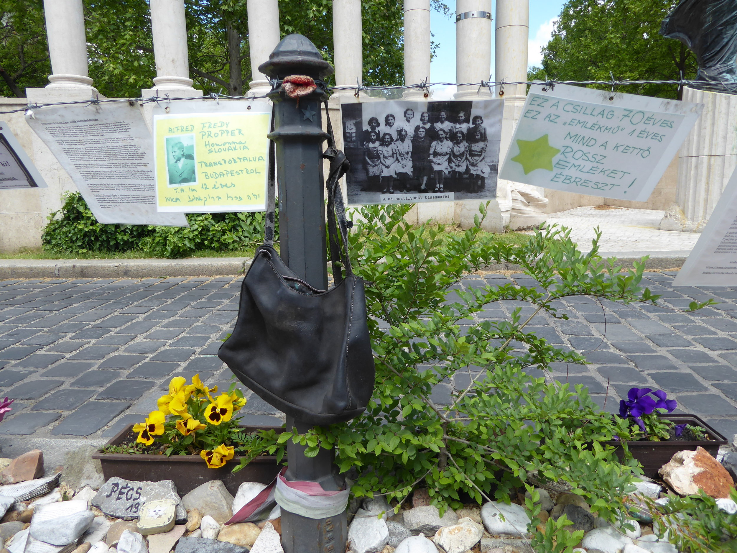 An ongoing visual protest against a World War II memorial supposedly honoring those killed in the holocaust, but actually whitewashing and glossing over Hungary's anti-semitism and culpability even before the German takeover of the country.
