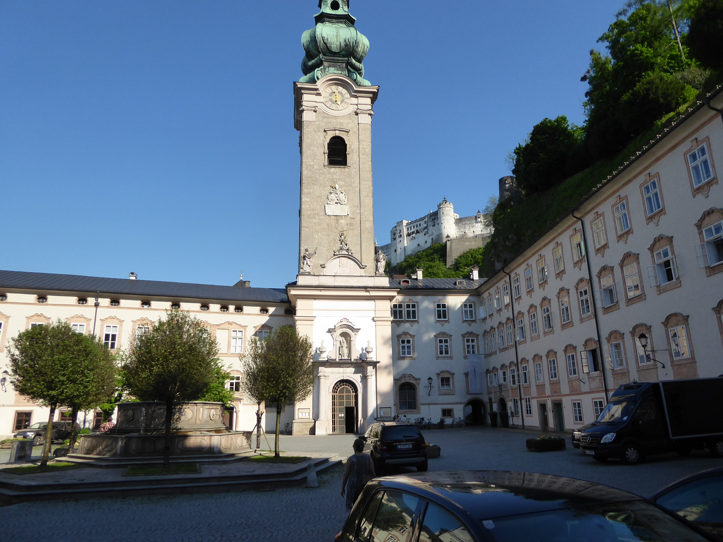 Quiet courtyards in Salzburg give relief from the busy shopping areas adjacent to them.
