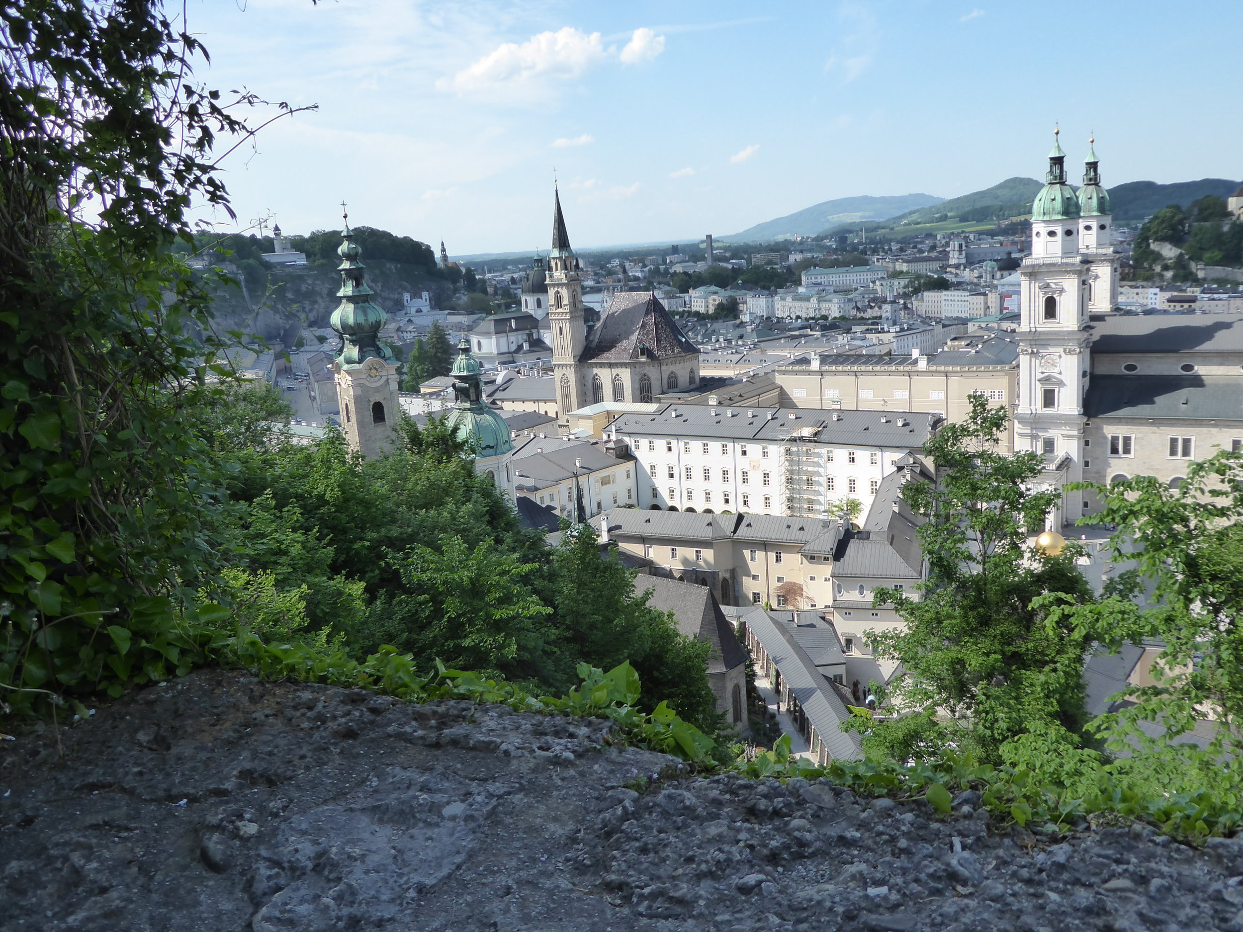 Looking down at Salzburg from above. We