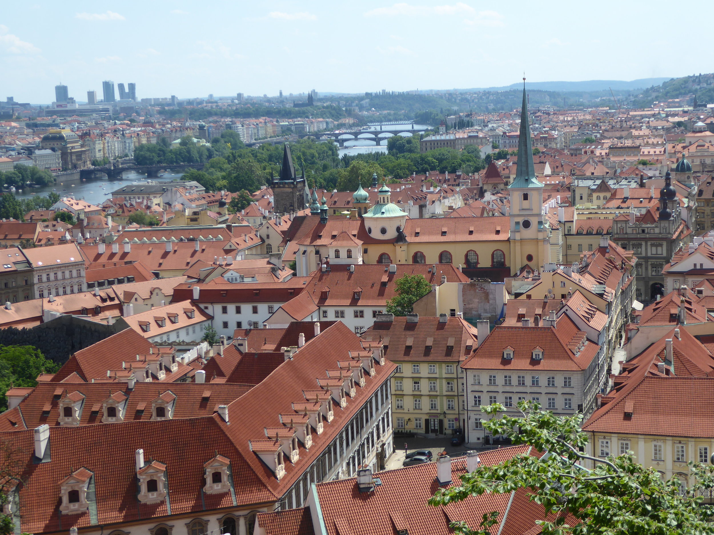 Magnificent view of Prague from the balcony at Lobkowicz Palace.