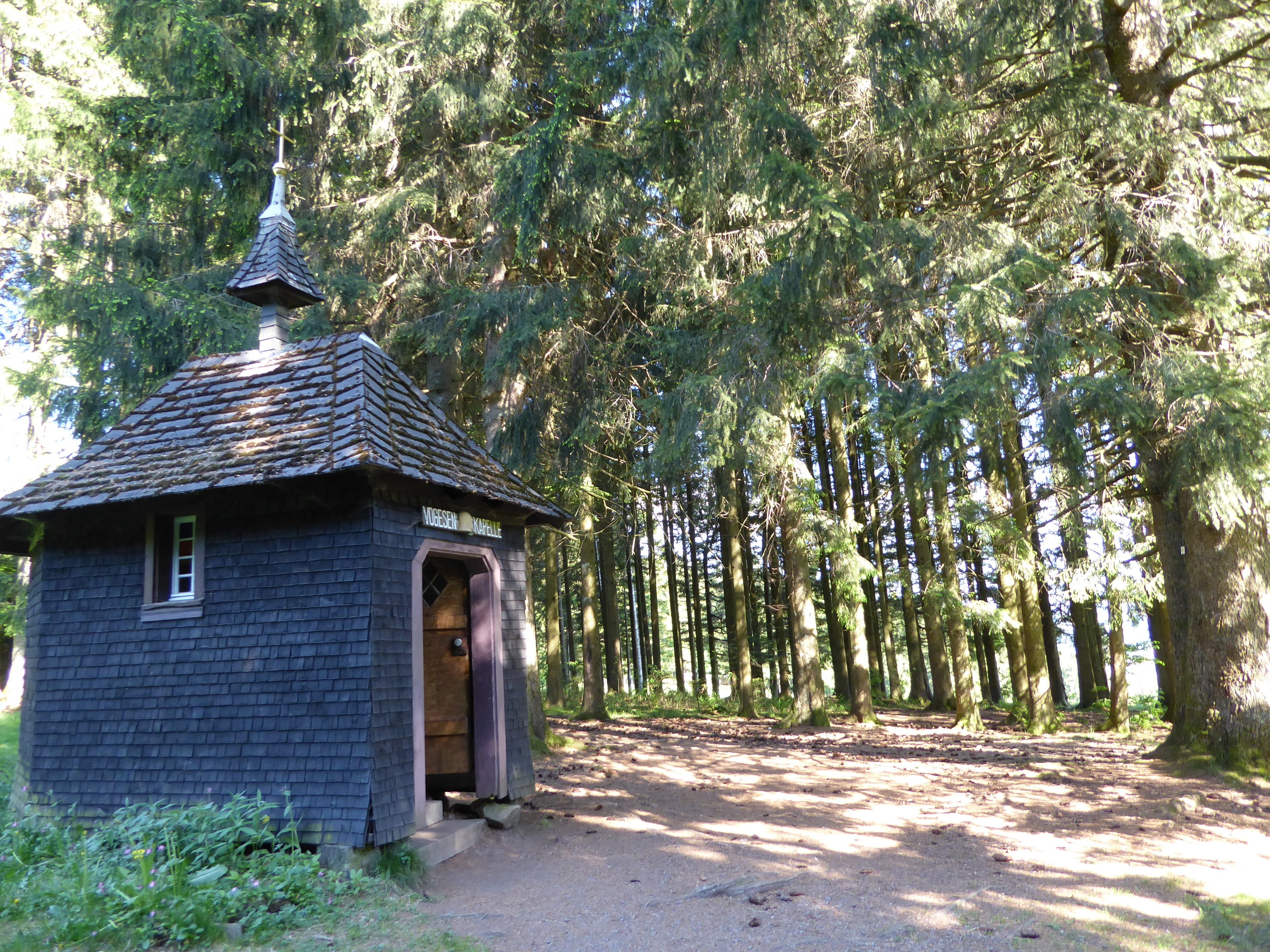 A walk through the Black Forest, which isn't particularly dark. The Vogensen Kapelle was built by a World War I soldier who made a pact with God to build a chapel in the forest by his hometown if he survived the war.