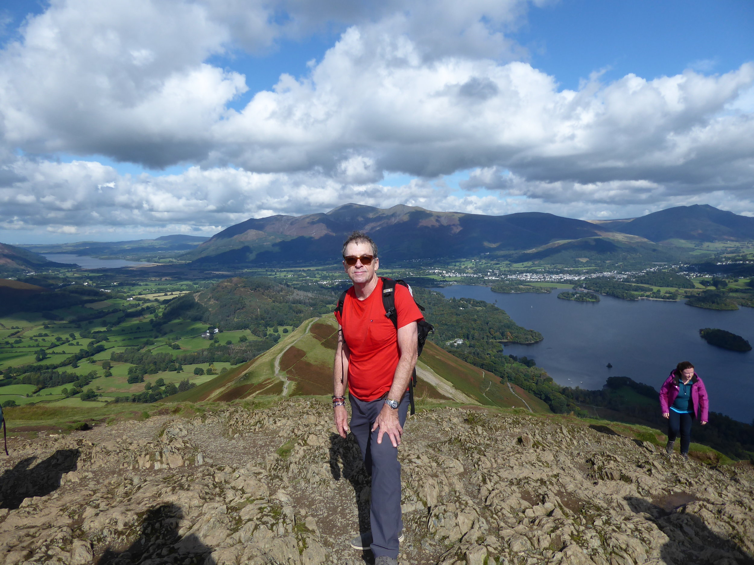 Steep hike up to the top of Catbells Mountain in the Lake District.