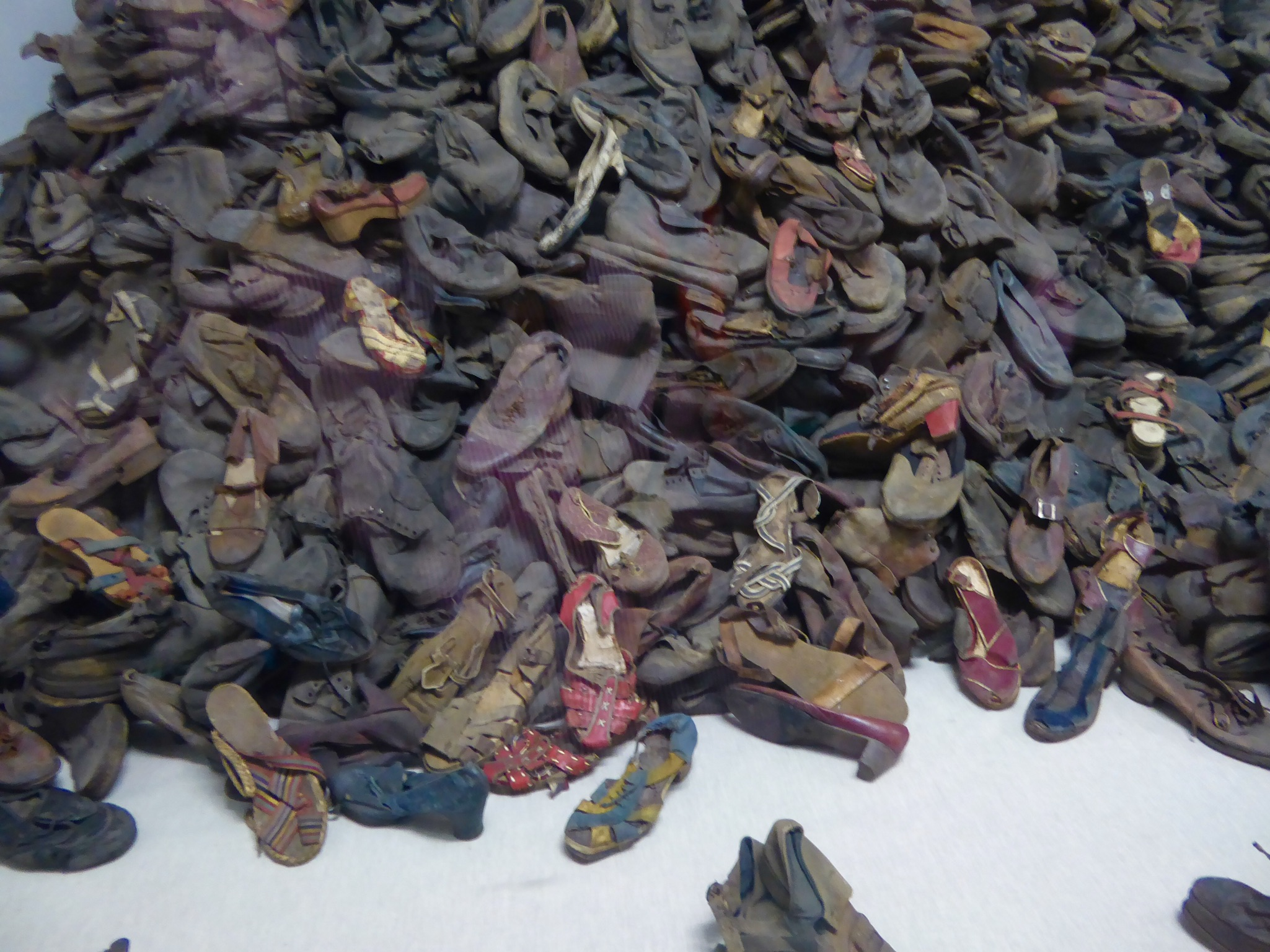 Shoes collected from the victims at Auschwitz.