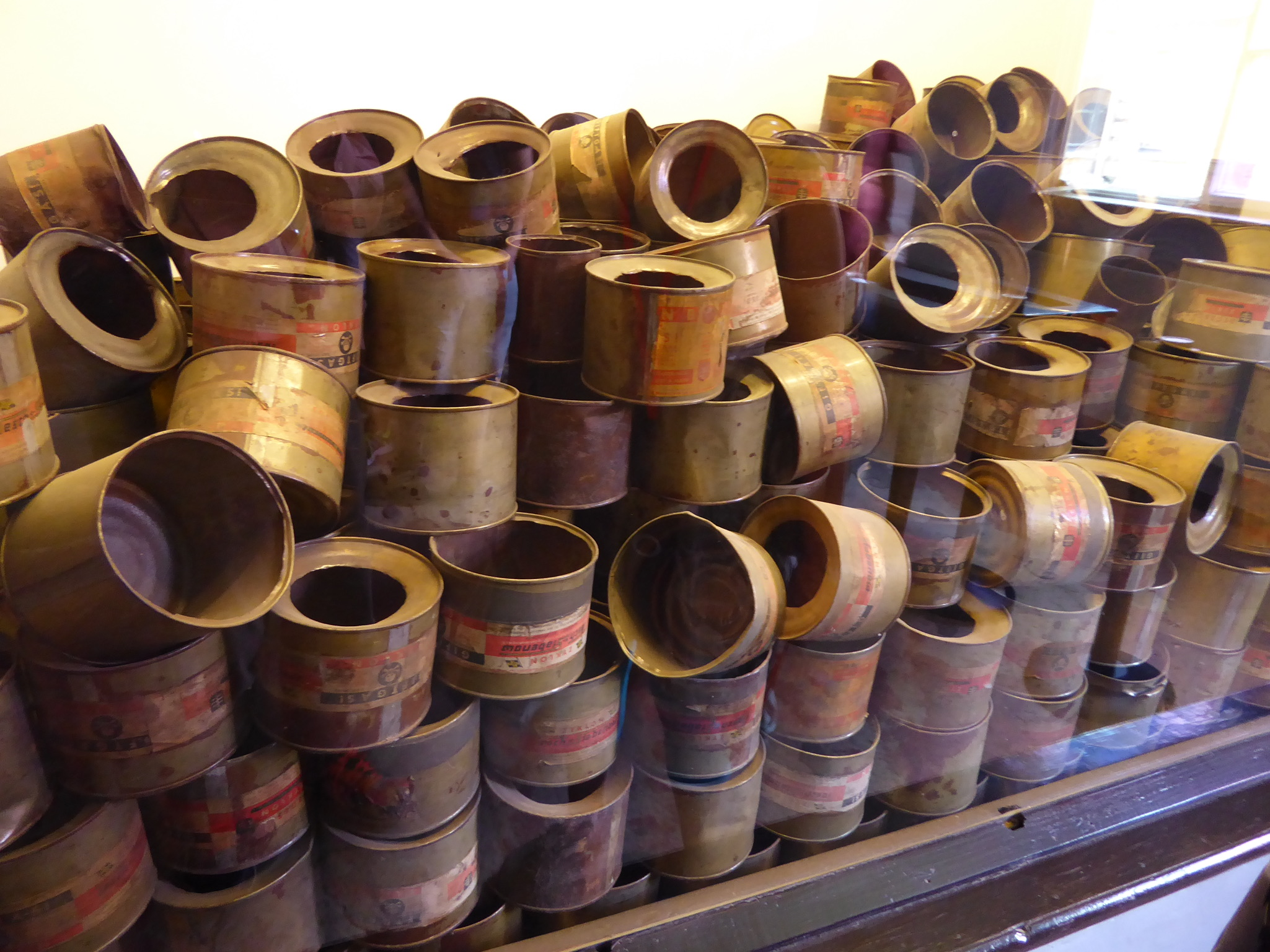 Empty canisters of cyanide that were used at Auschwitz.
