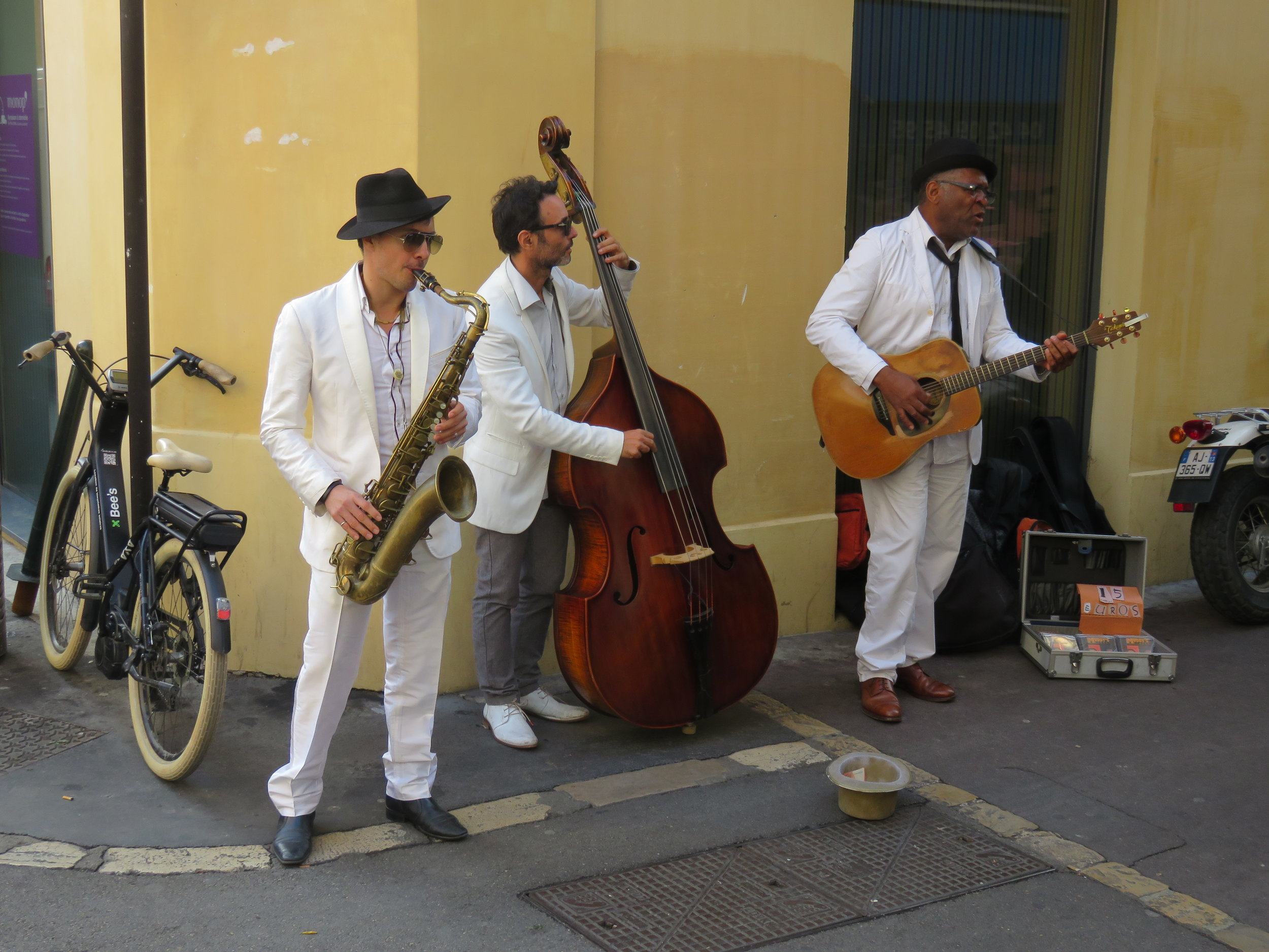 Aix street musicians. They were doing some amazing French influenced blues/jazz so we bought their CD. Unfortunately, it ended up being just studied versions of the American originals.