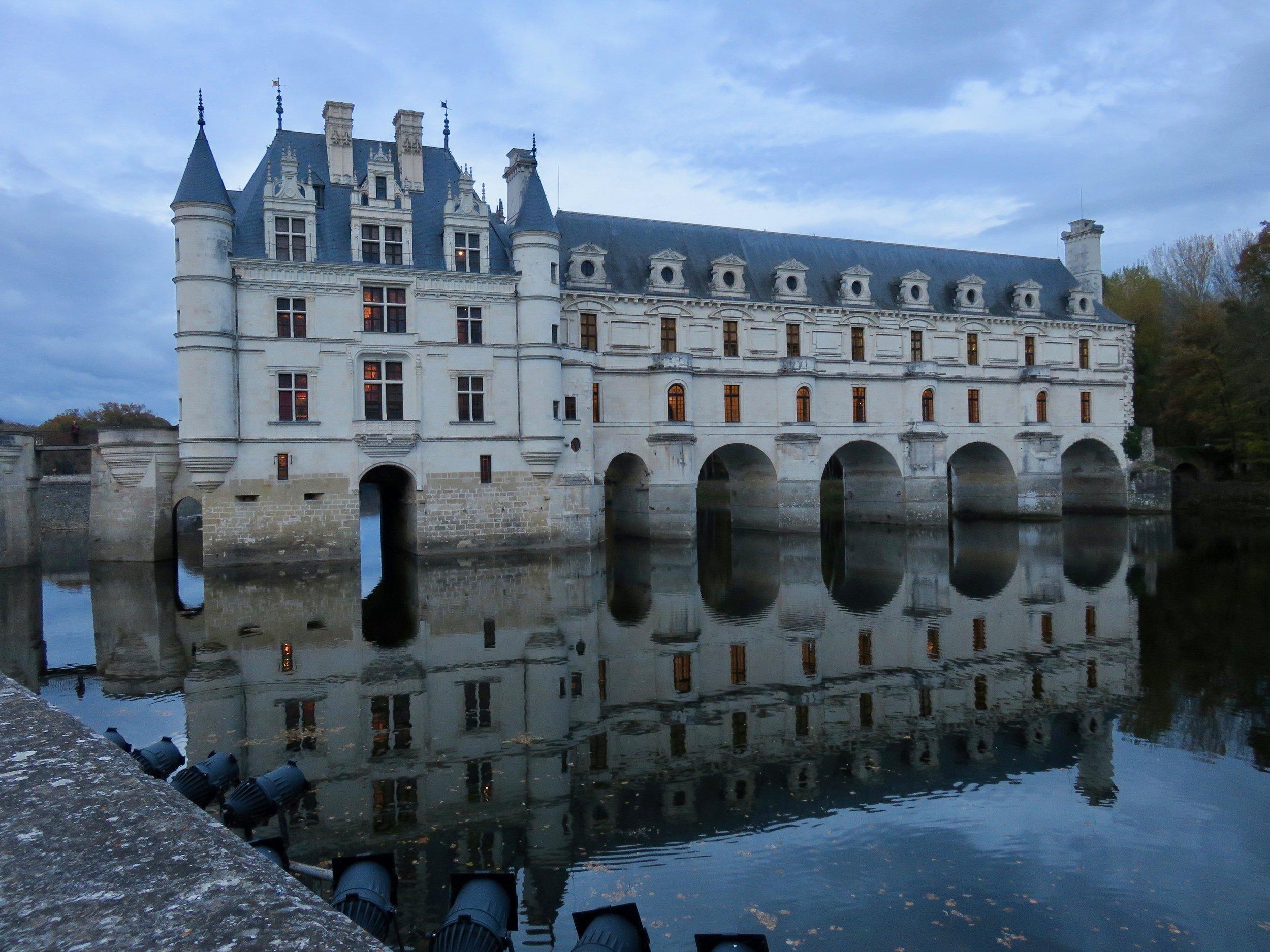 Château de Chenonceau built over the Cher River. We kept touring until the sun went down.