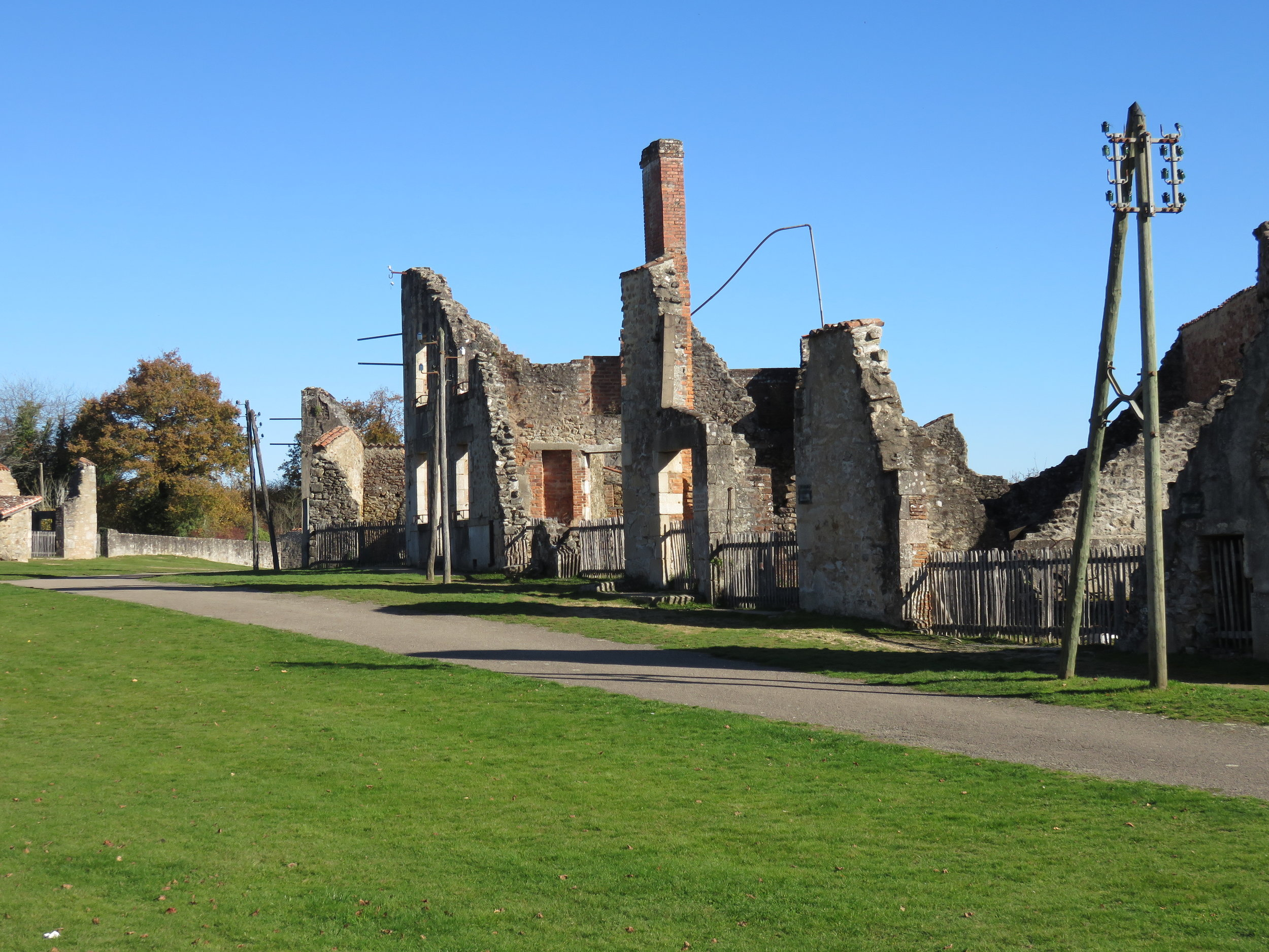 We take a side trip on our way to Normandy to Oradour-sur-Glane, site of a senseless Nazi massacre of an entire village.