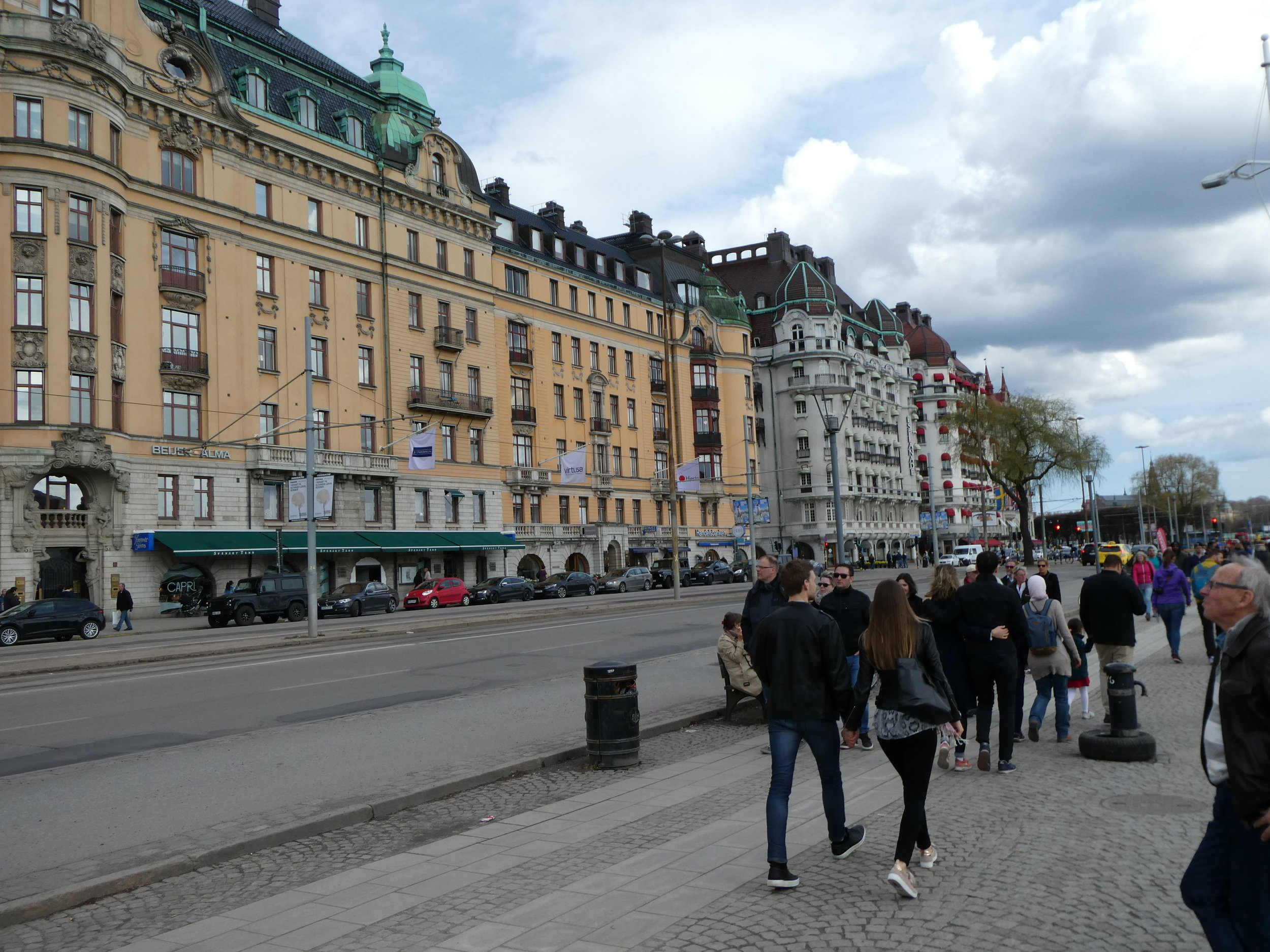 Strolling along the Stockholm waterfront headed toward Embassy Row.