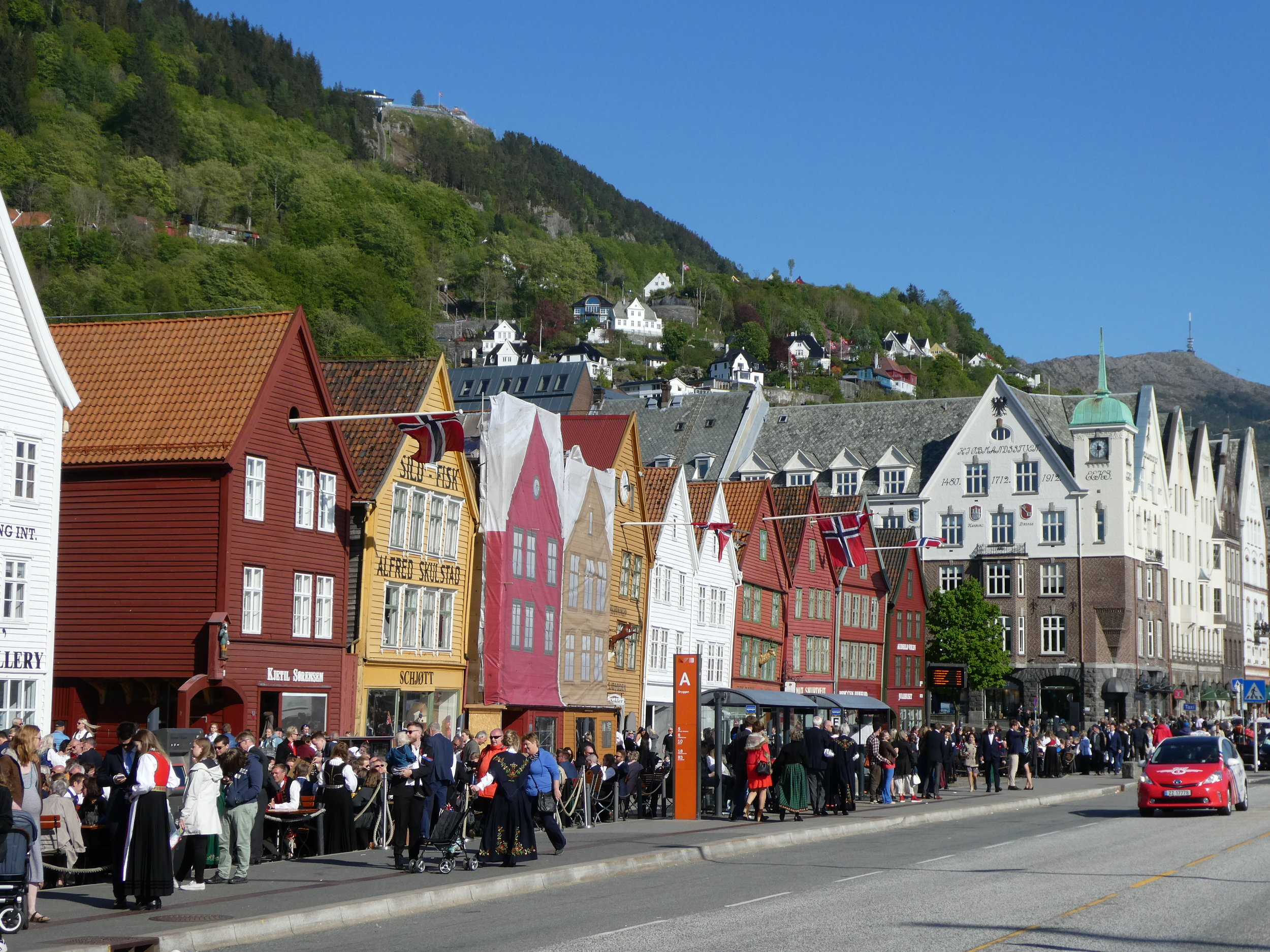 Bergen is a very pretty city, lying beneath steep hillsides. Here we are in the German Hanseatic part of town.