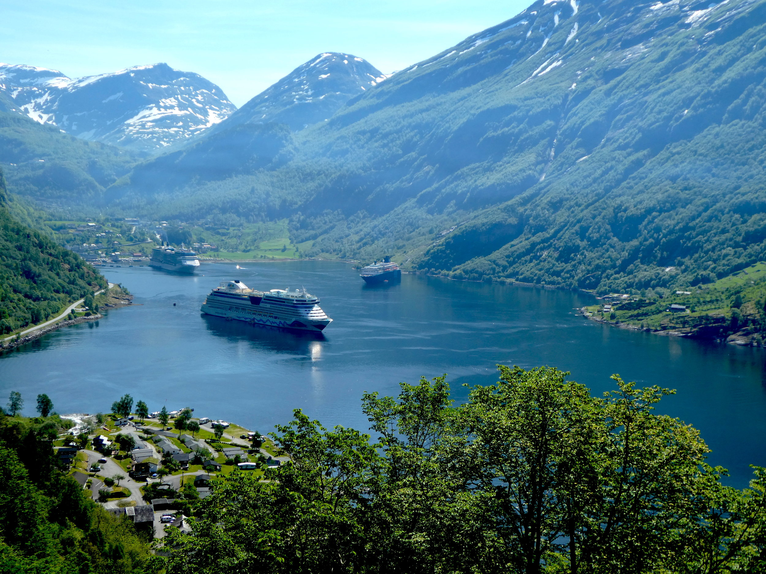 The iconic and narrow Geiranger fjord. Beautiful but choked with cruise ships.