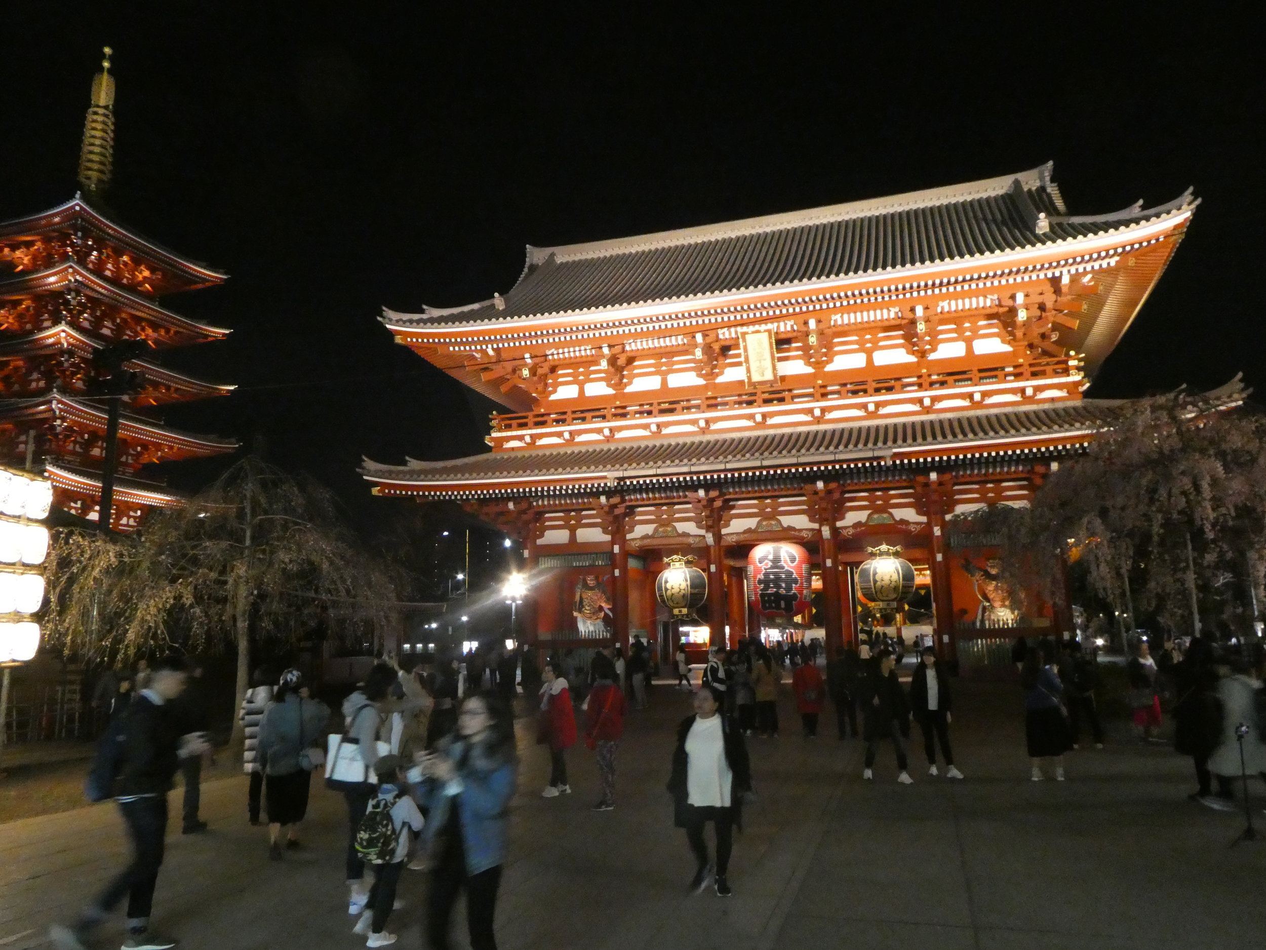 Walking around Tokyo at night: Sensō-ji temple.