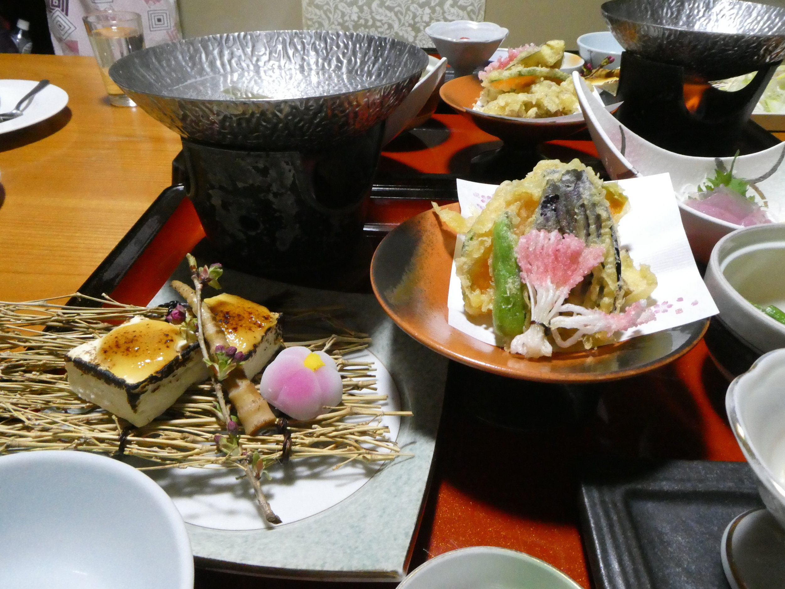 Dinner at our Ryokan in Nikko. It is as much a work of art as a meal, but who knows what it all is.