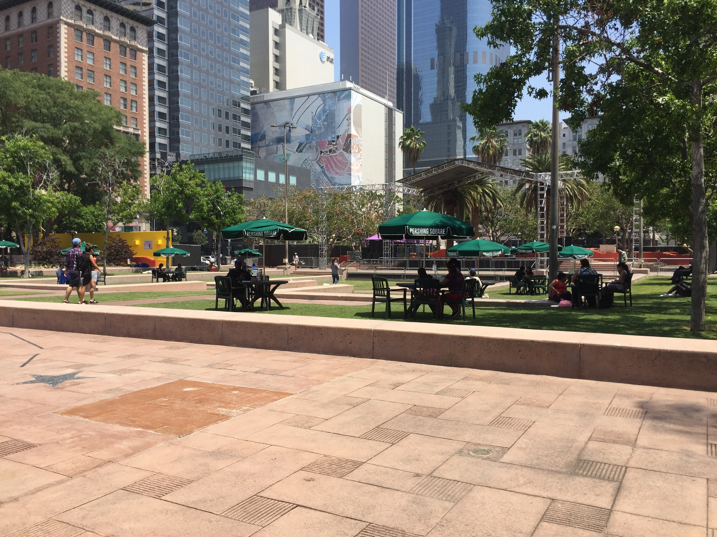 New tables and umbrellas for lunchtime patrons. (photo by David Douglass-Jaimes)