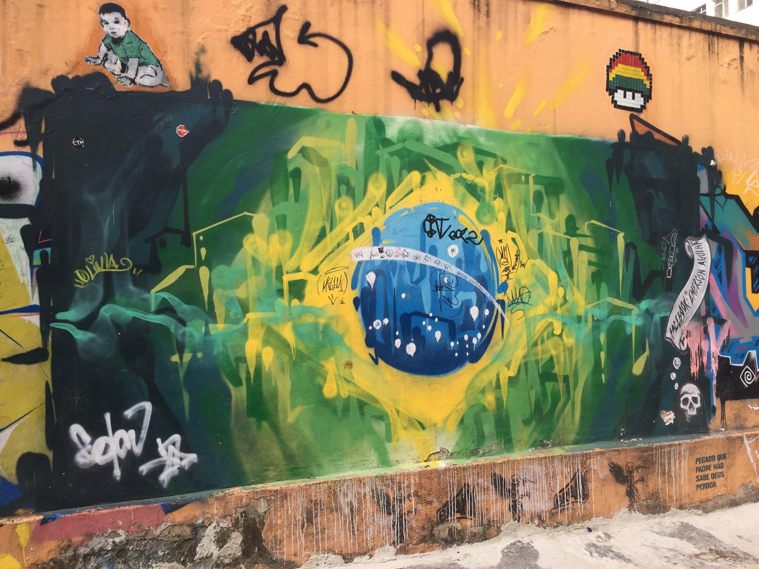 A grafitti version of the Brazilian flag in Rio de Janeiro