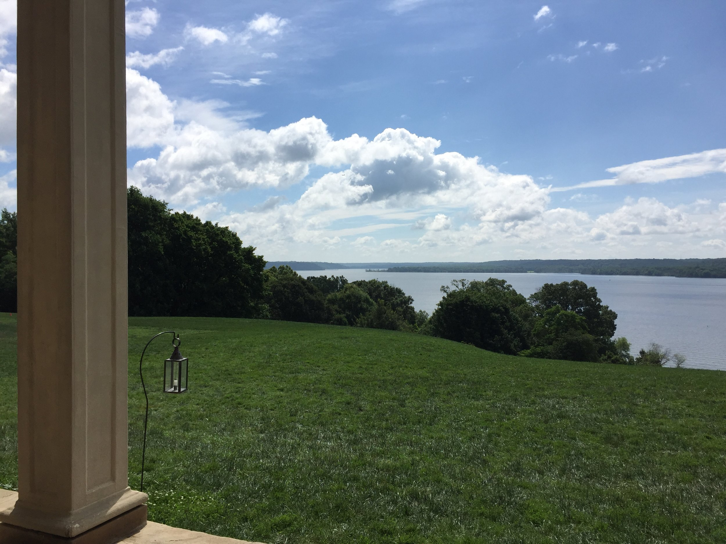 The view from the back portico at Mount Vernon, across the Potomac River and into Maryland, remains largely undeveloped due in part to the efforts of the Mount Vernon Ladies Association.