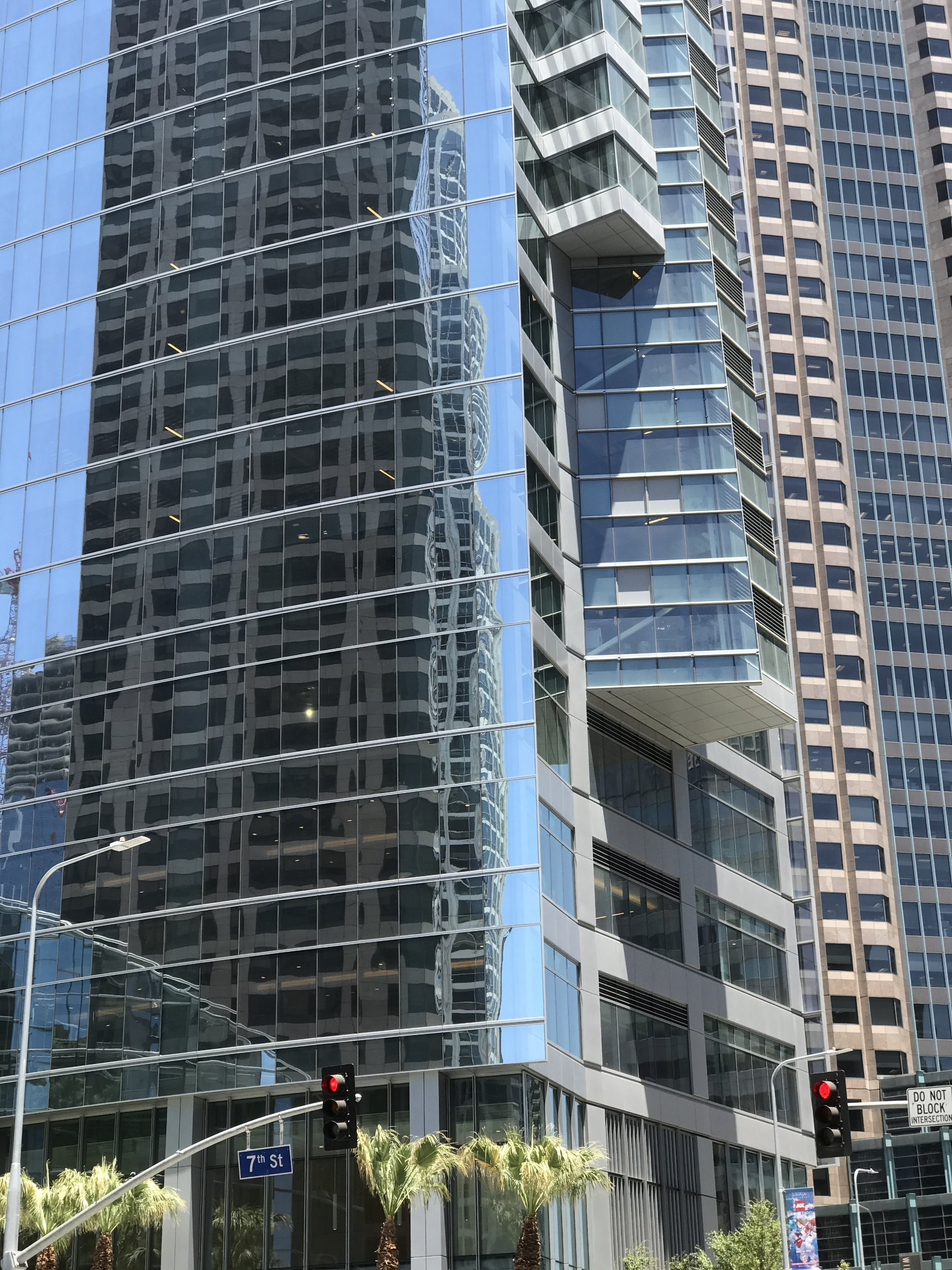 Incongruous facade articulations at Wilshire Grand Center.