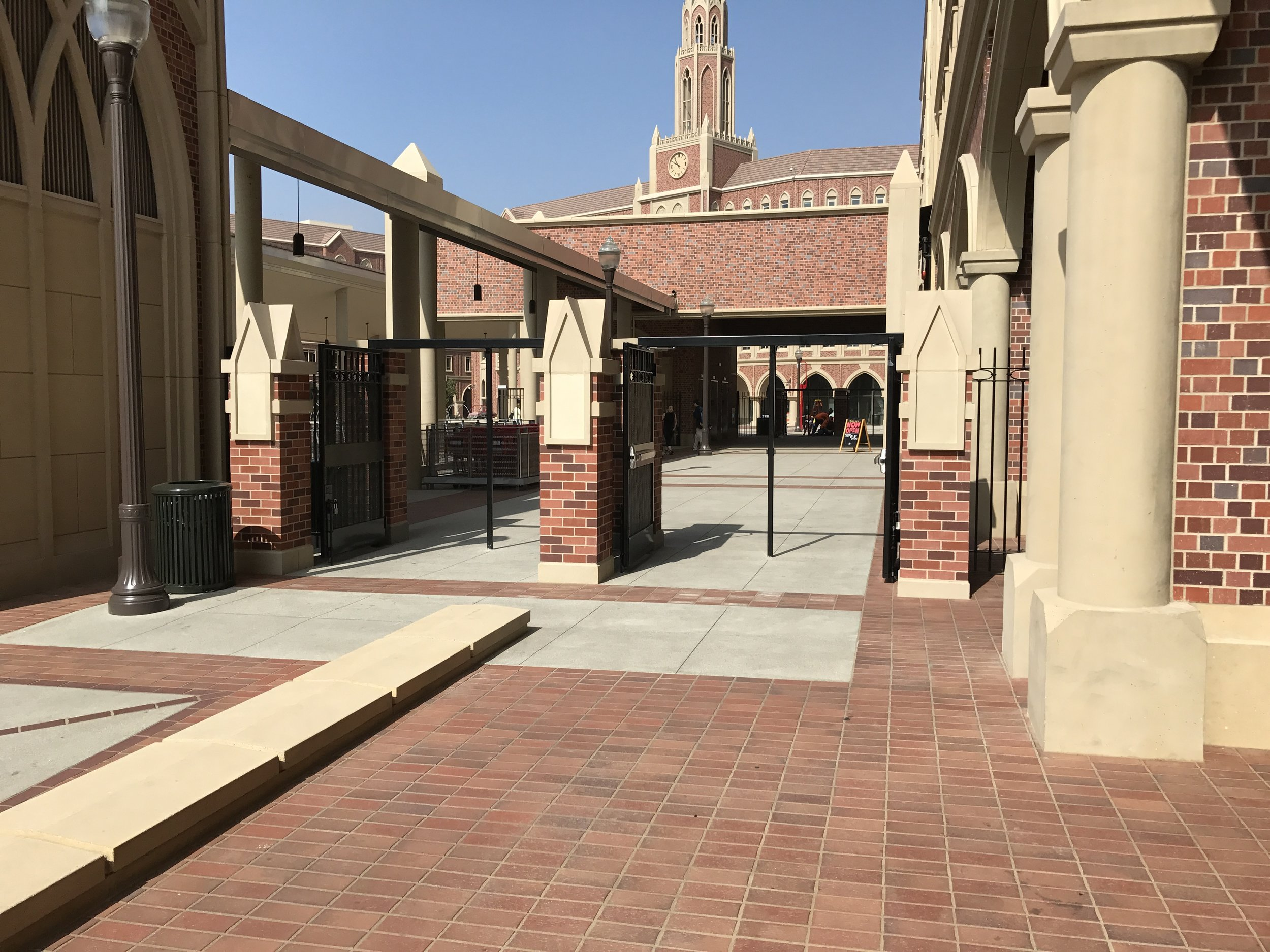 These columns for the security gates received more design attention than some of the facades