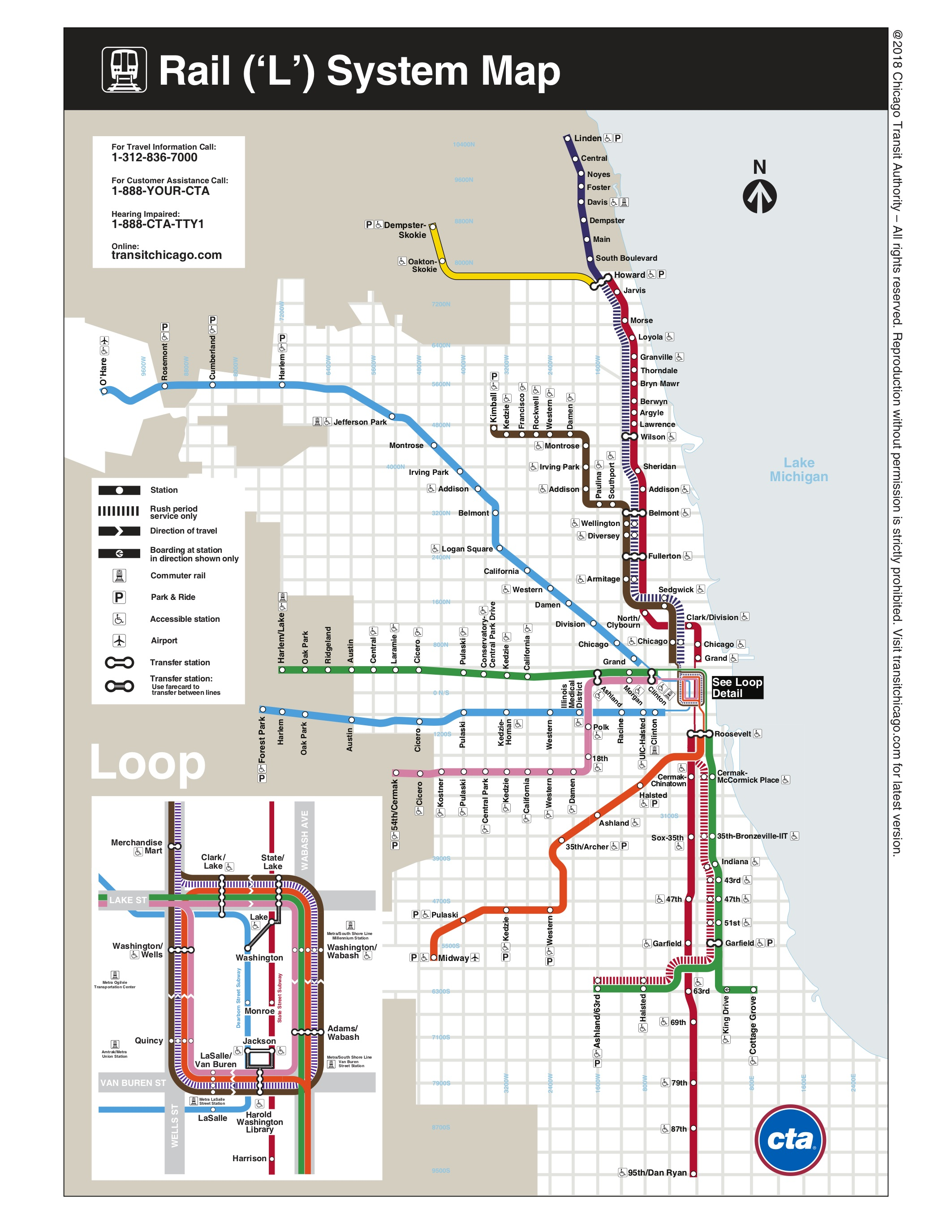 "Chicago ""L"" map, via  Chicago Transit Authority ."