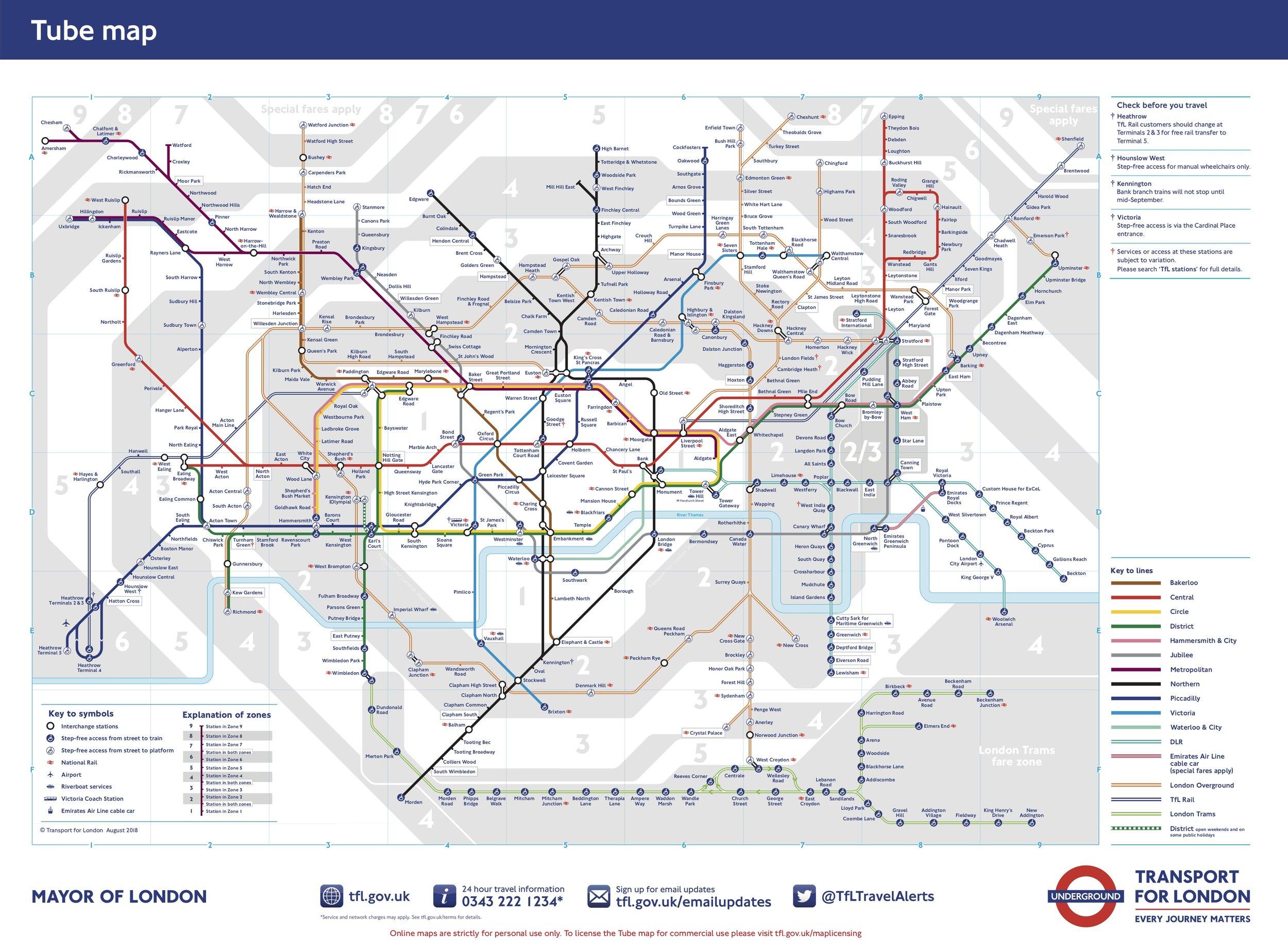 London Tube Map, via  Transport for London .