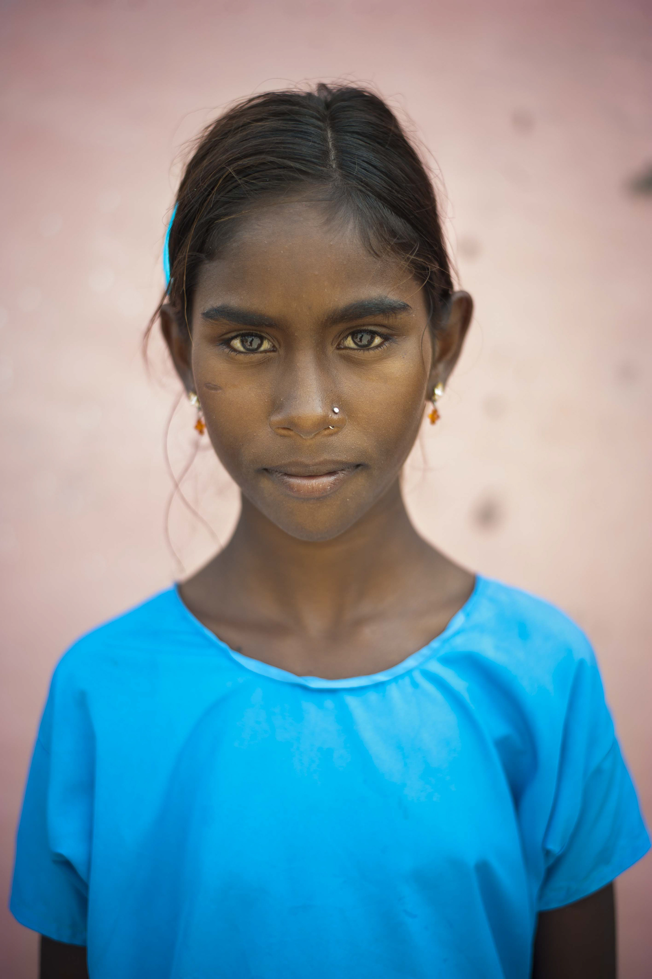 A young girl from Jeetawas, Rajasthan, India. July 2015.
