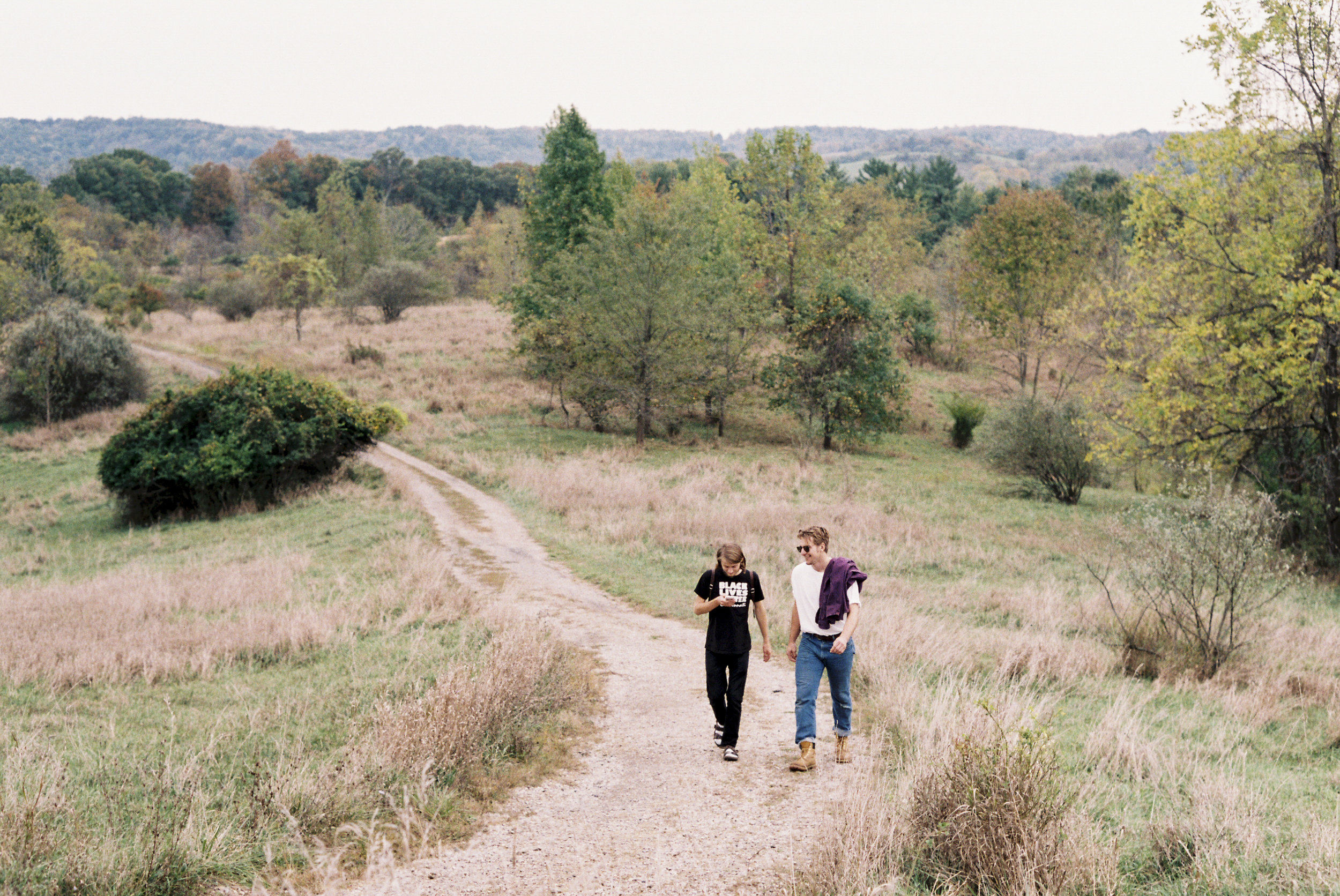 Daniel Kingston and Michael Mayberry along the trail to Radar Hill. Athens, OH