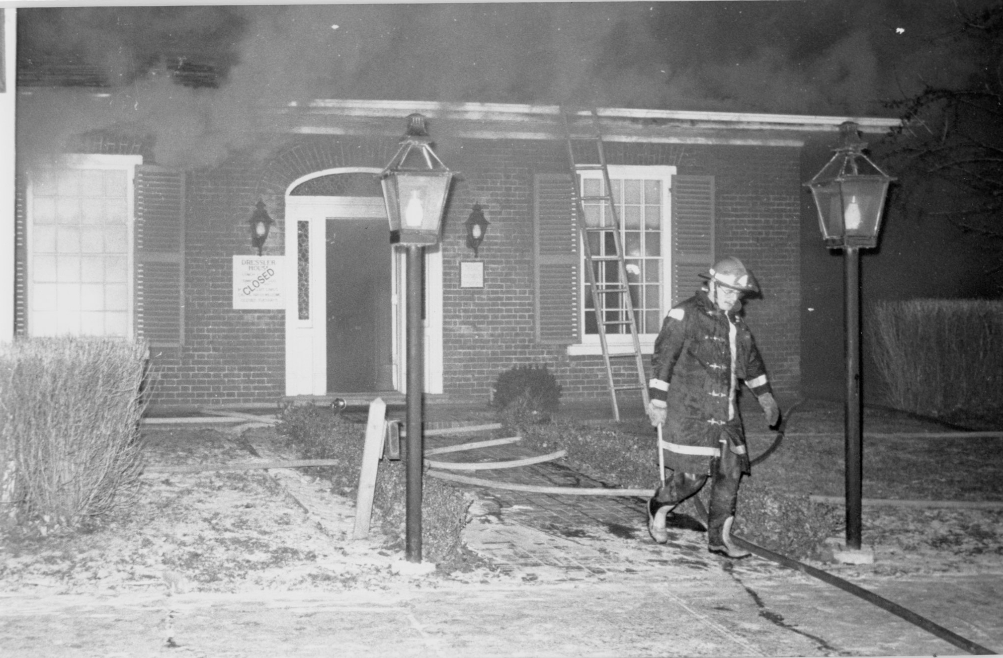 Extinguishing the fire at Marie Dressler House   Photograph  1989  Marie Dressler Foundation Collection