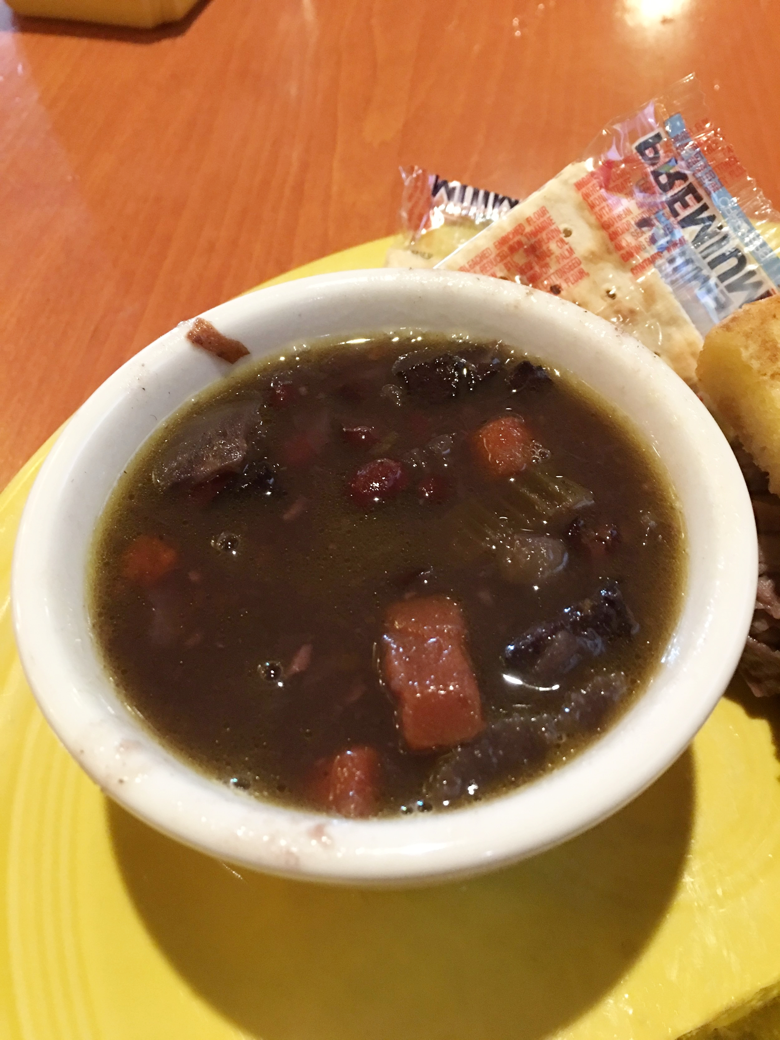 A little reindeer sausage and black bean soup for lunch