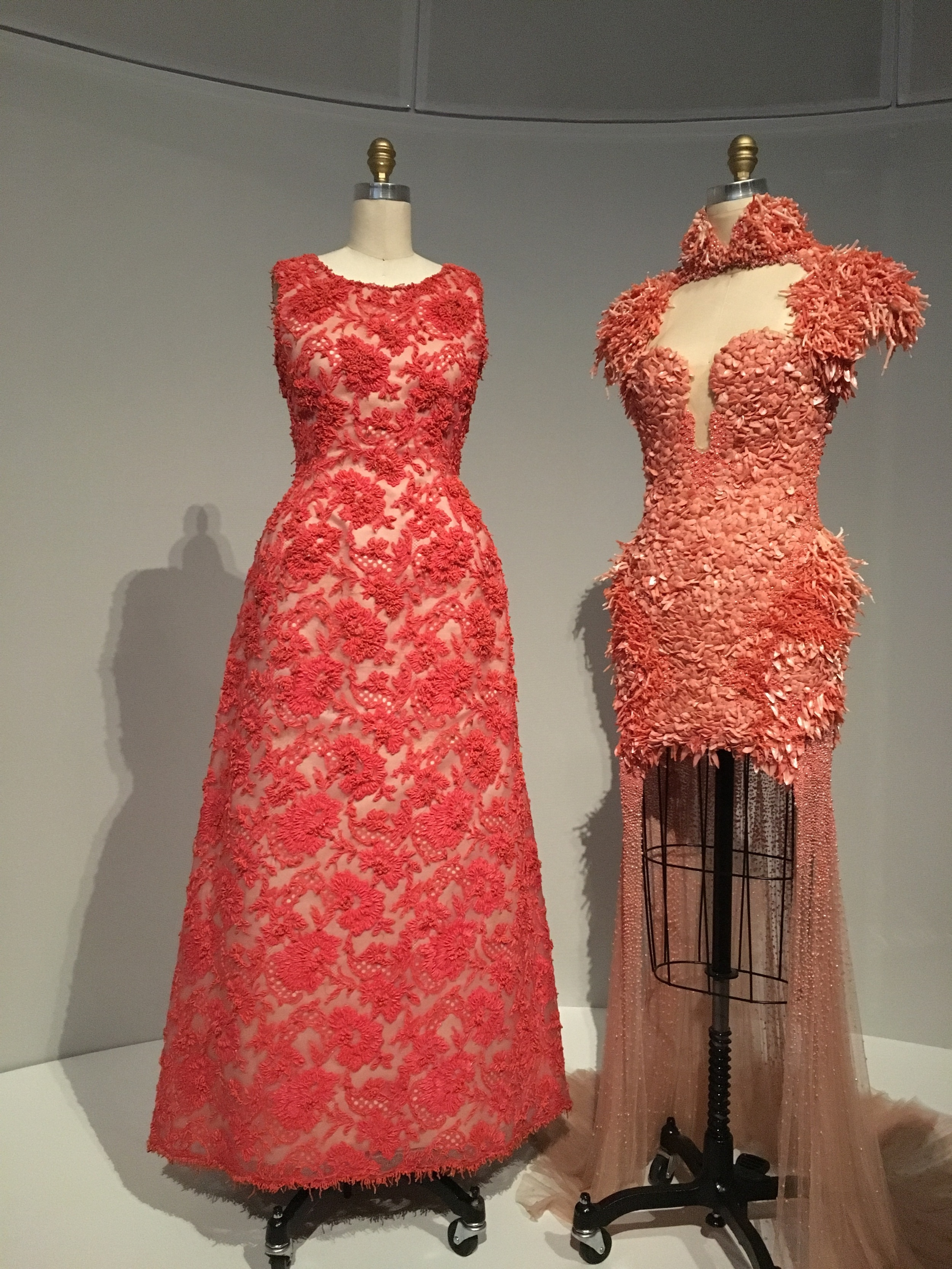 House of Givenchy  Hubert de Givenchy  1963, haute couture  Hand sewn red-orange cotton Mechlin-type lace hand-embroidered with red-orange beads, tinsel, and pieces of coral