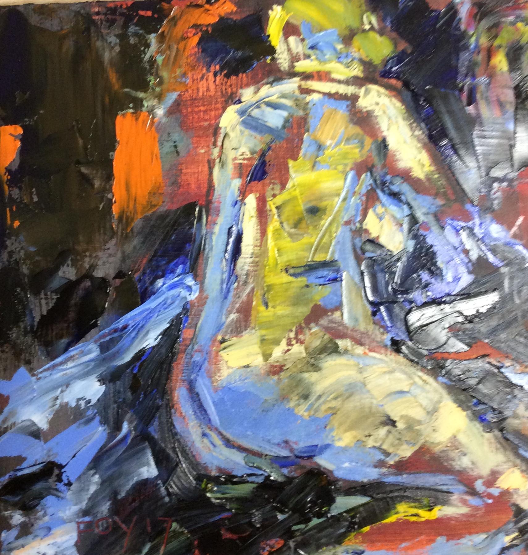 Nude lying. 10 x 10. Oil on panel.