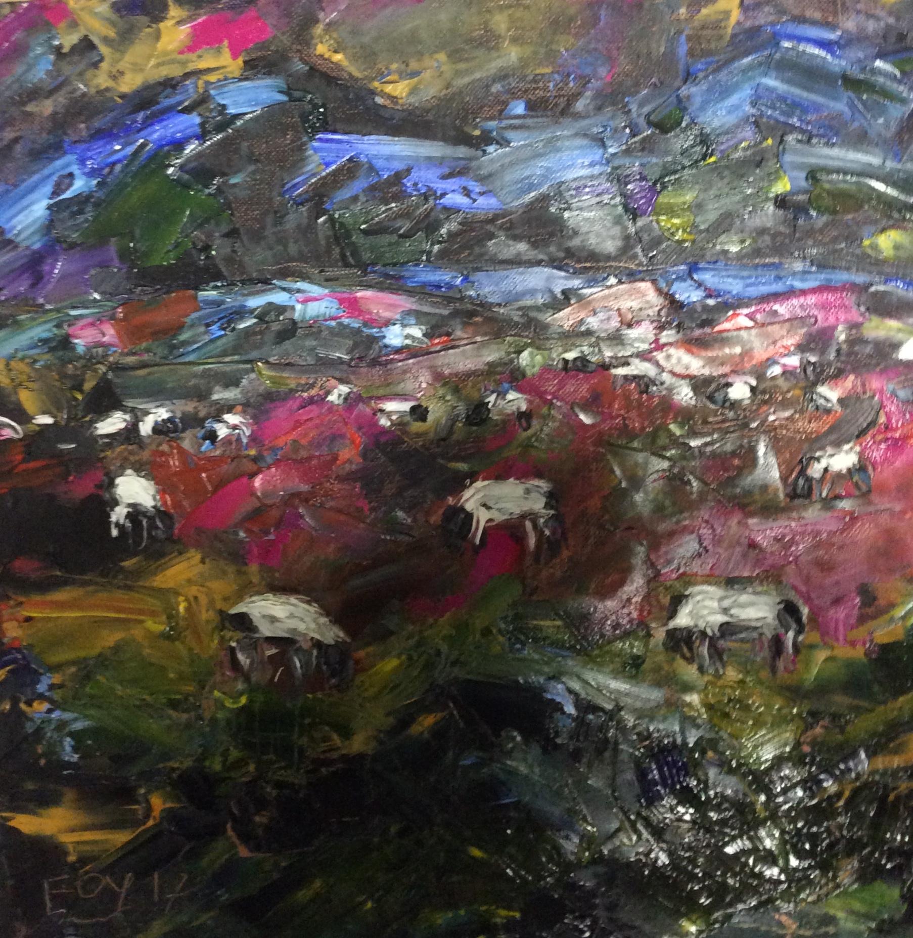 Sheep grazing. 12 x 12. Oil on panel.