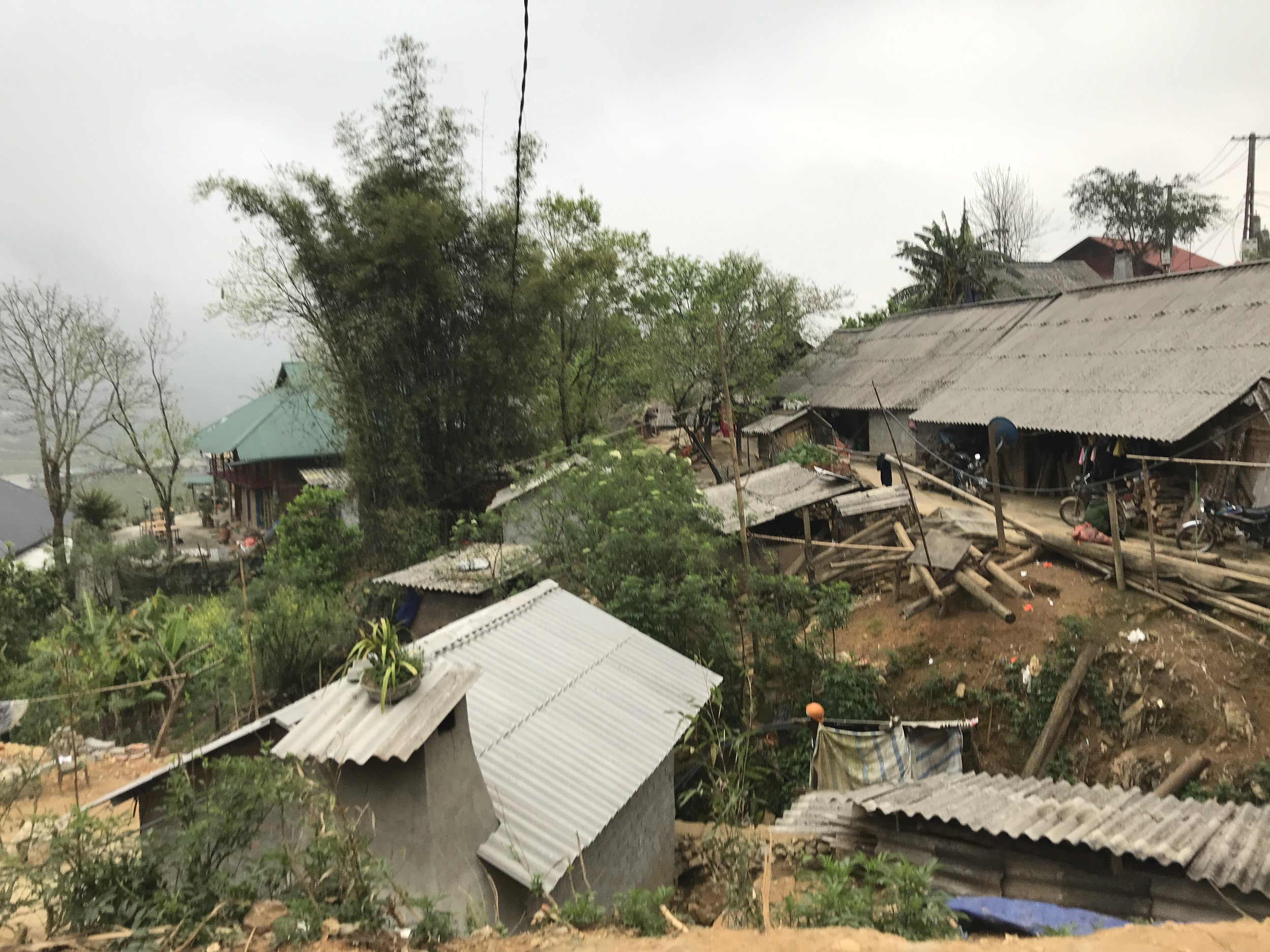 My Homestay just about visible with a green roof.