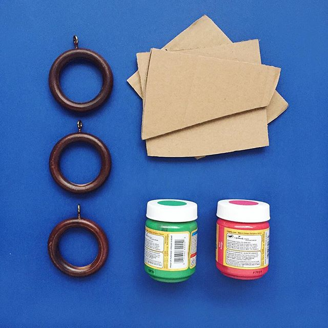 Cardboard + curtain rings + paint = (See next post)