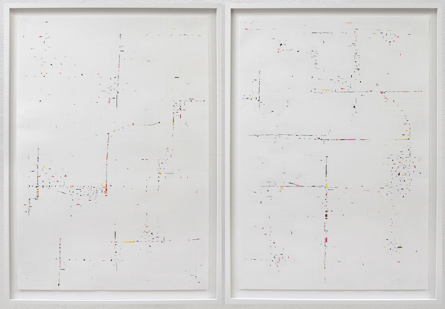 Scene One and Scene Two,  2015, linetape on paper, 44 x 60 inches