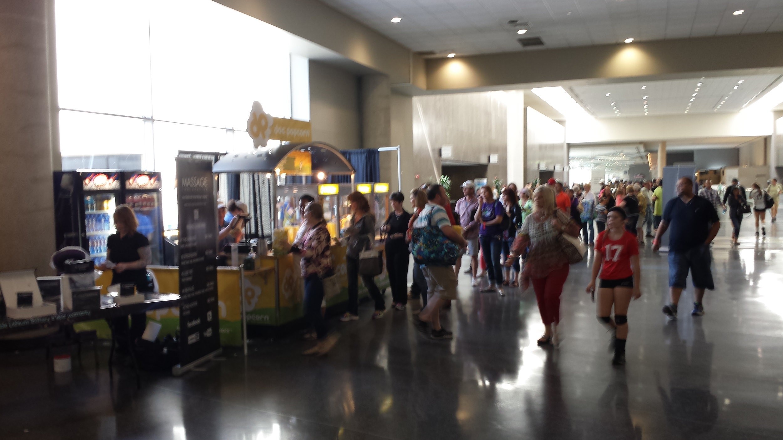 LSC Volleyball players lining up for Doc Popcorn